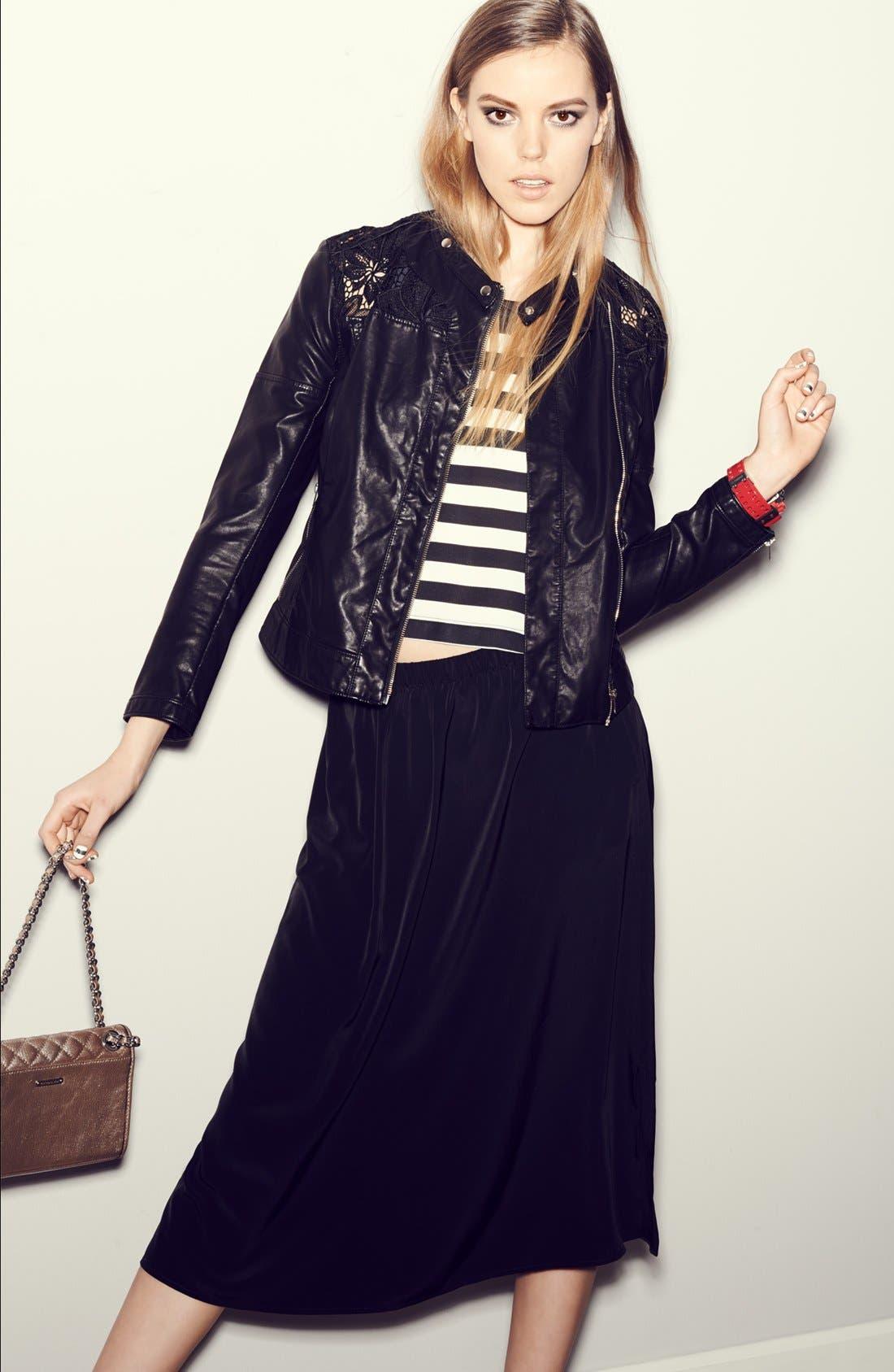 Side Slit Woven Midi Skirt,                             Alternate thumbnail 2, color,                             030