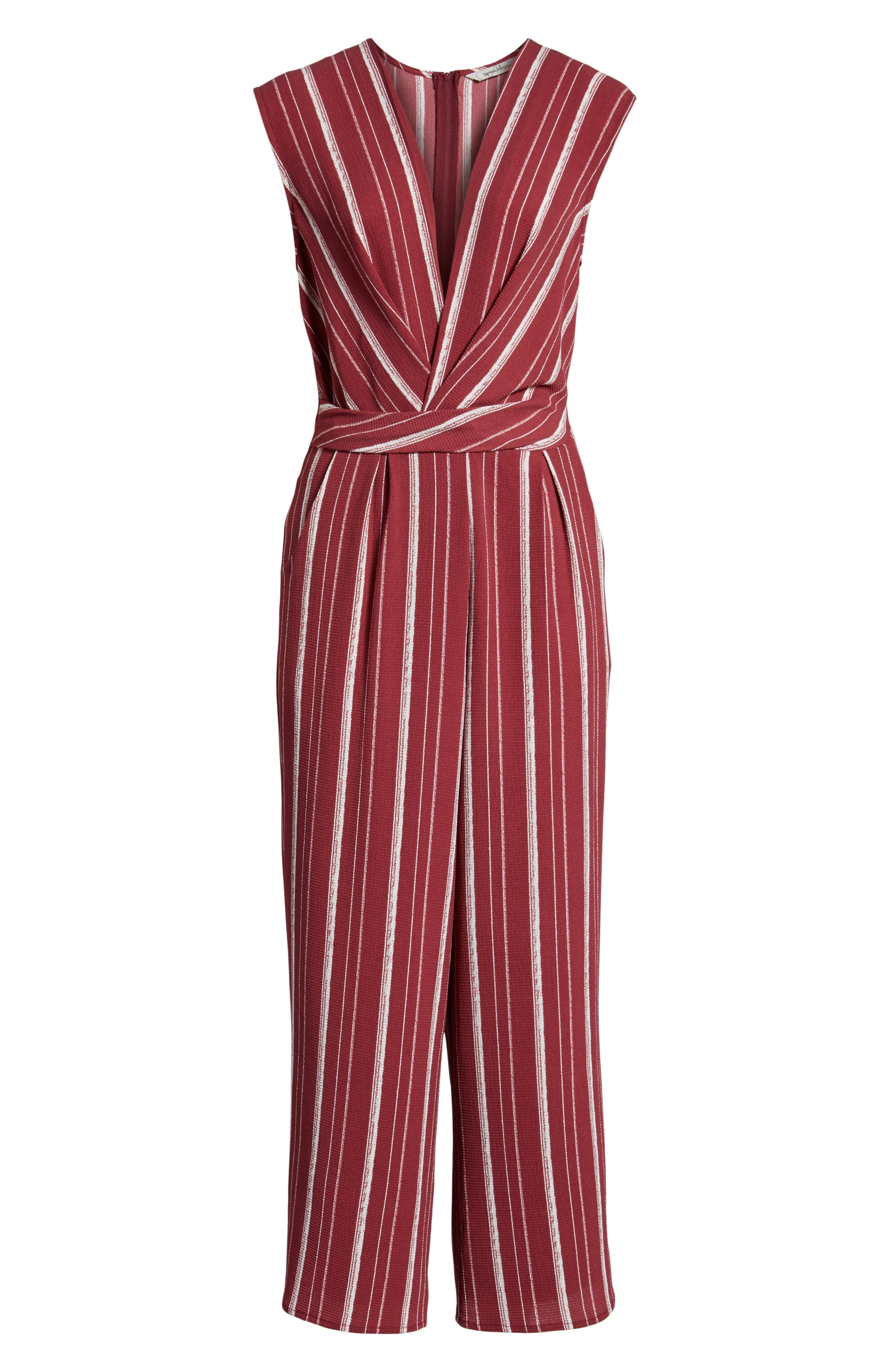 Stripe Jumpsuit,                             Alternate thumbnail 7, color,                             WINE