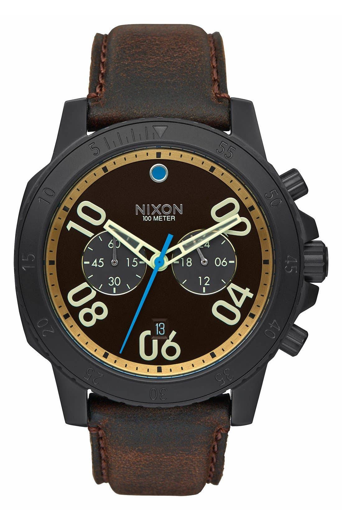 'The Ranger' Chronograph Leather Strap Watch, 44mm,                             Main thumbnail 3, color,