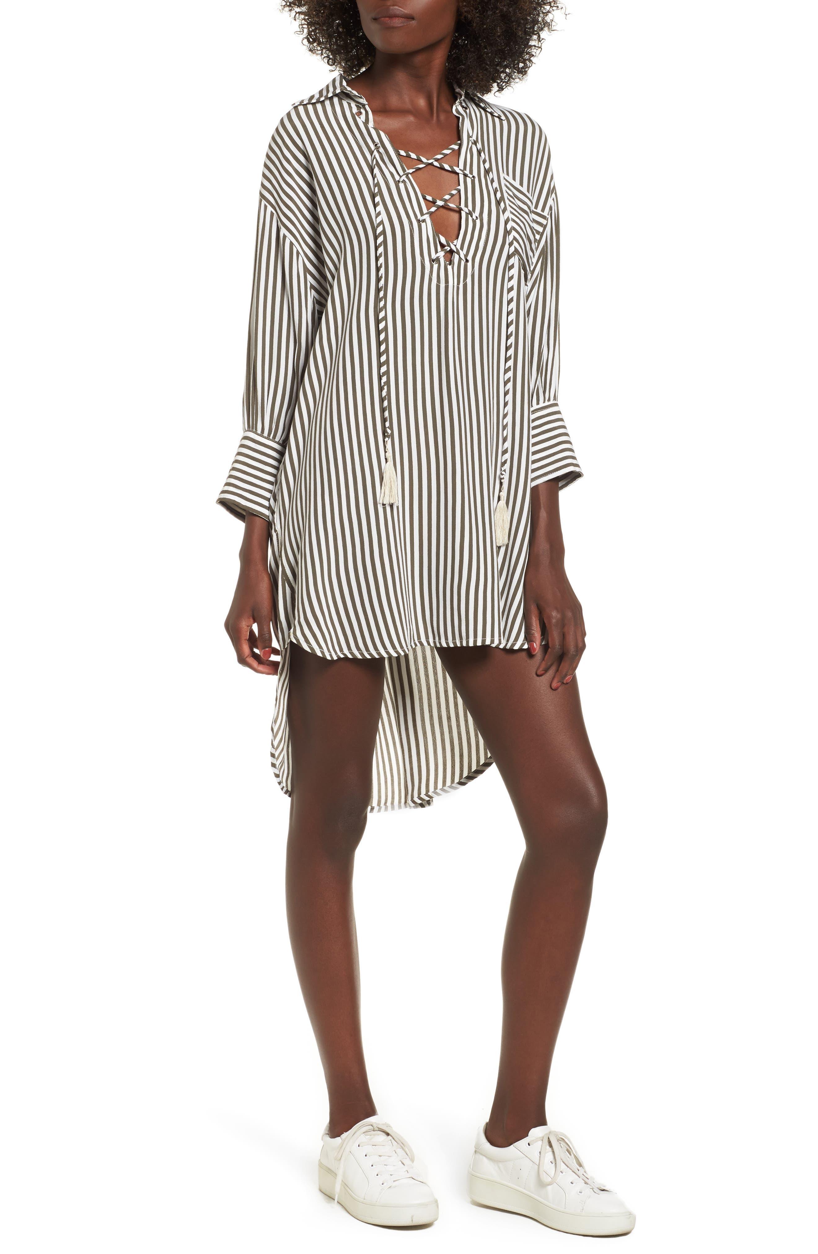 Nova Stripe Lace-Up Shirtdress,                             Alternate thumbnail 5, color,                             400