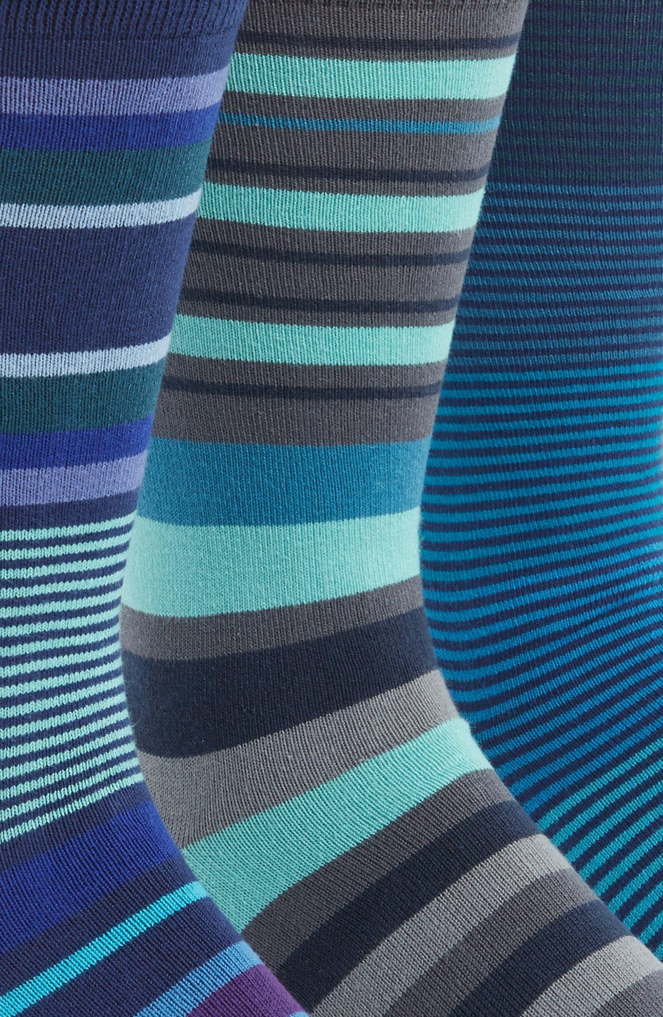 3-Pack Stripe Socks,                             Alternate thumbnail 3, color,                             434