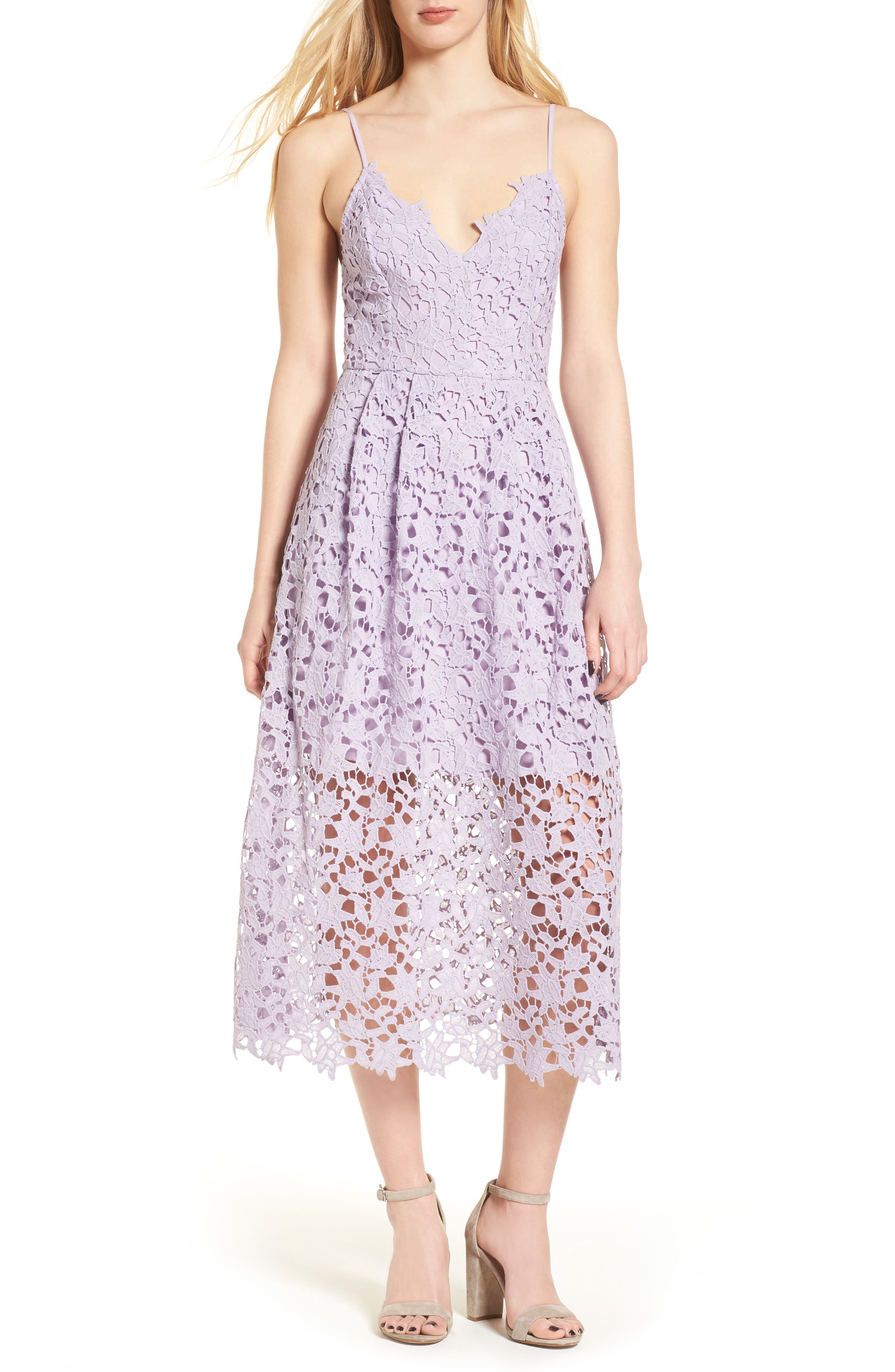 ASTR THE LABEL Lace Midi Dress, Main, color, LILAC