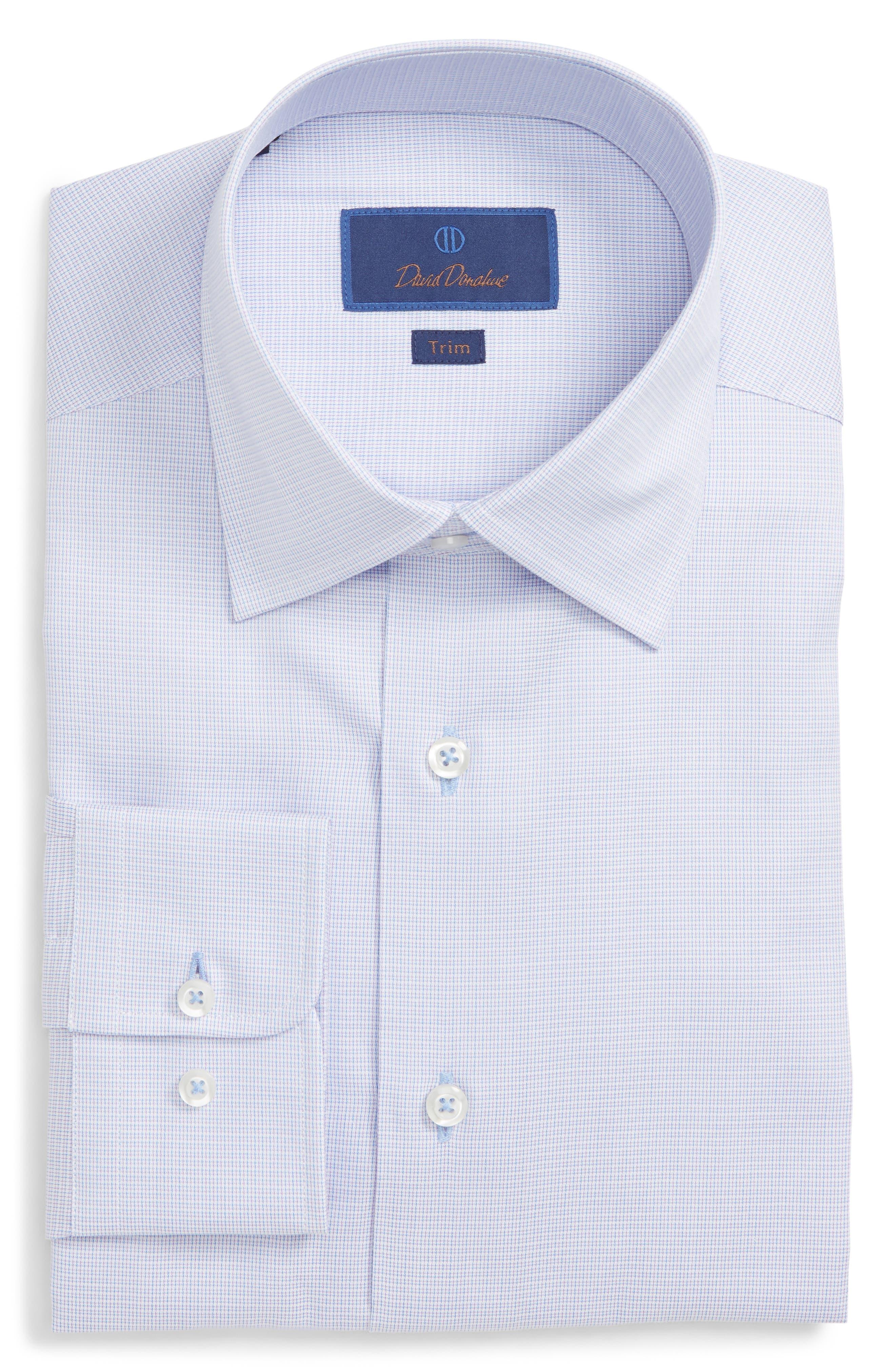 DAVID DONAHUE Men'S Trim-Fit Mini Check Dress Shirt in Lilac
