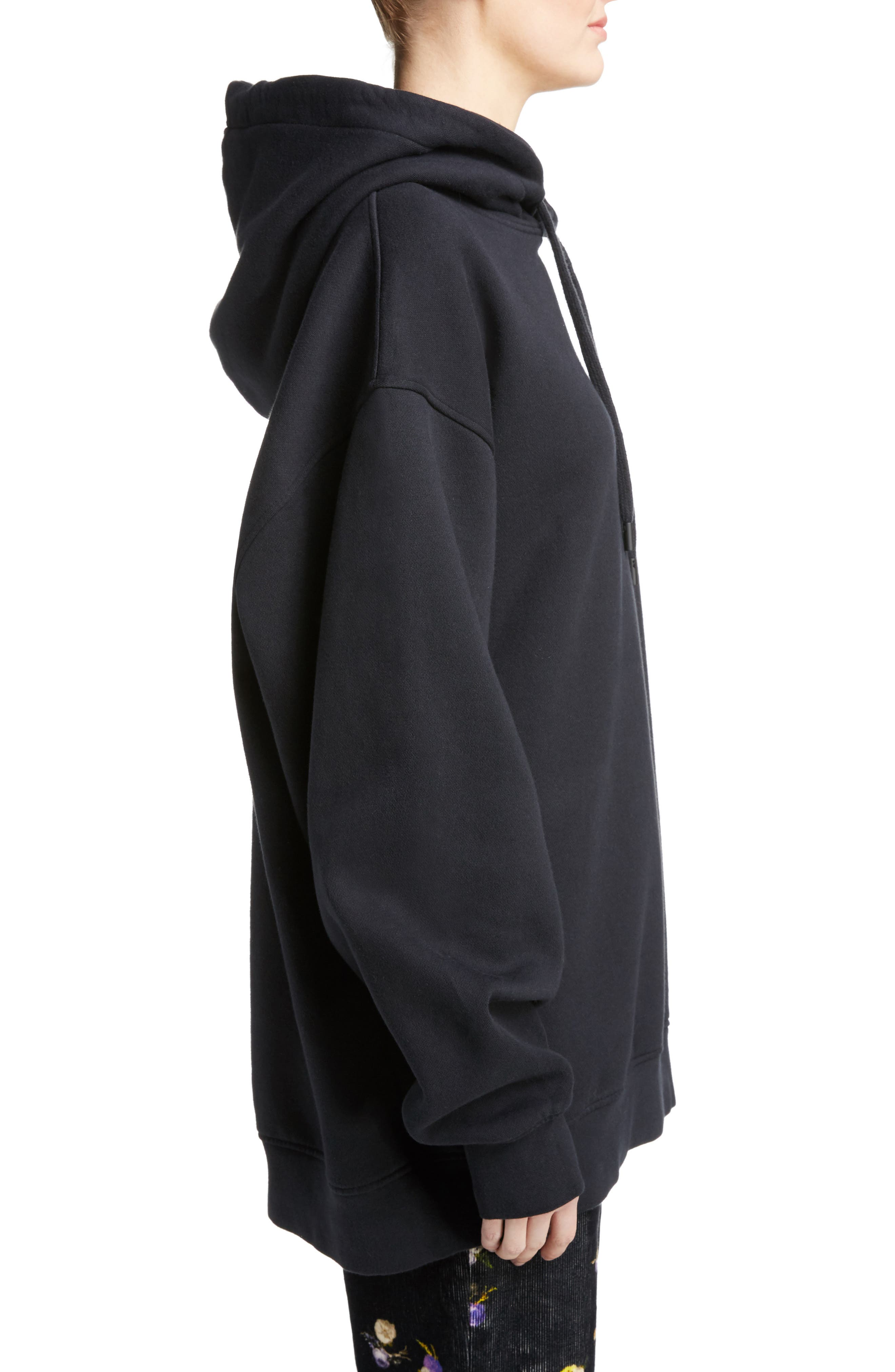 ACNE STUDIOS,                             Yala Oversize Hoodie,                             Alternate thumbnail 3, color,                             001