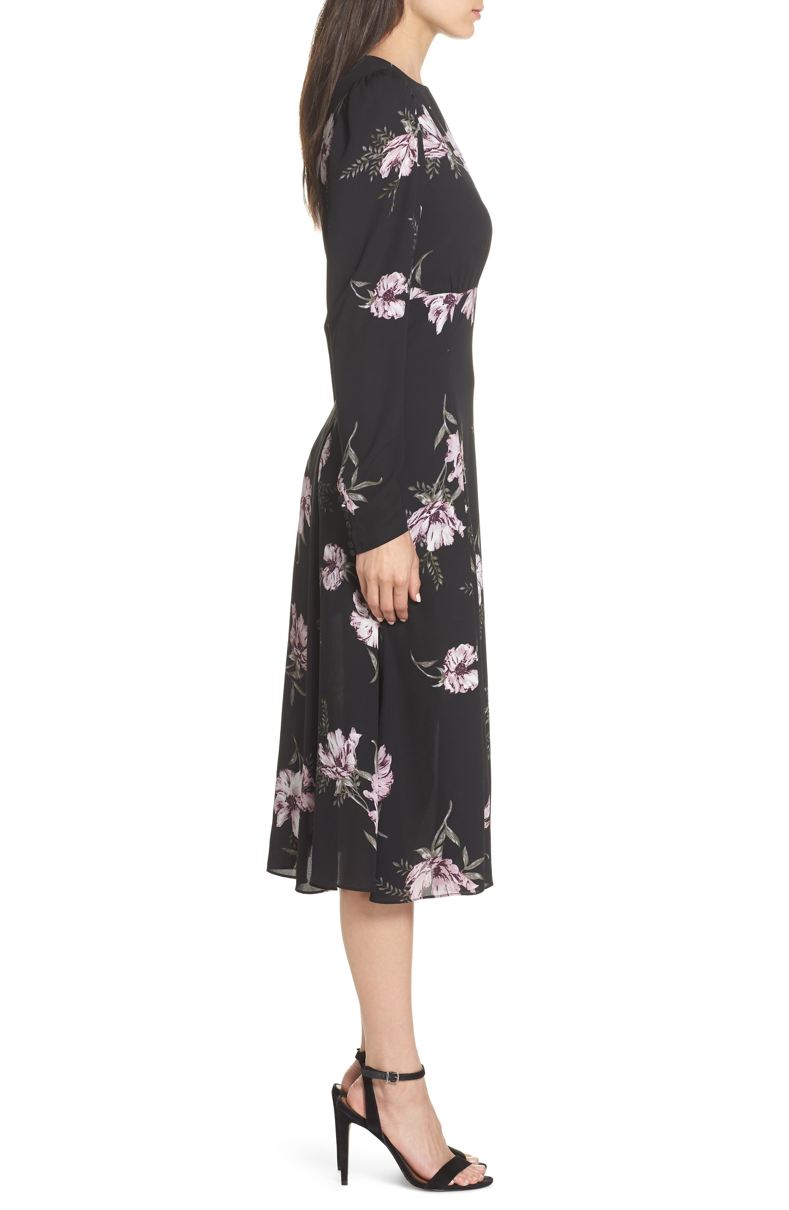 Floral Print Midi Dress,                             Alternate thumbnail 3, color,                             BLACK BLOOMING PEONY