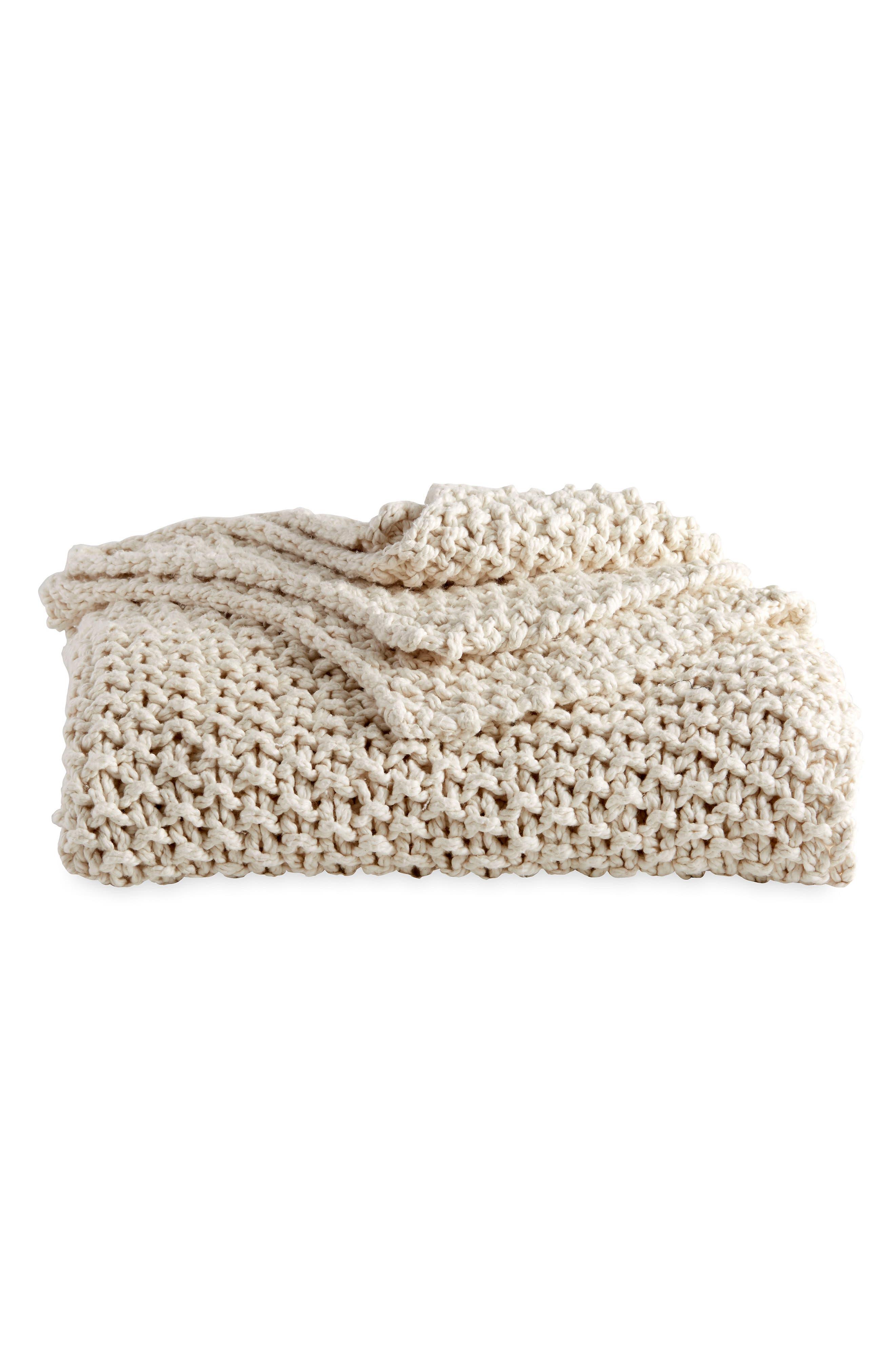 PURE Chunky Knit Throw Blanket,                             Main thumbnail 1, color,                             NATURAL