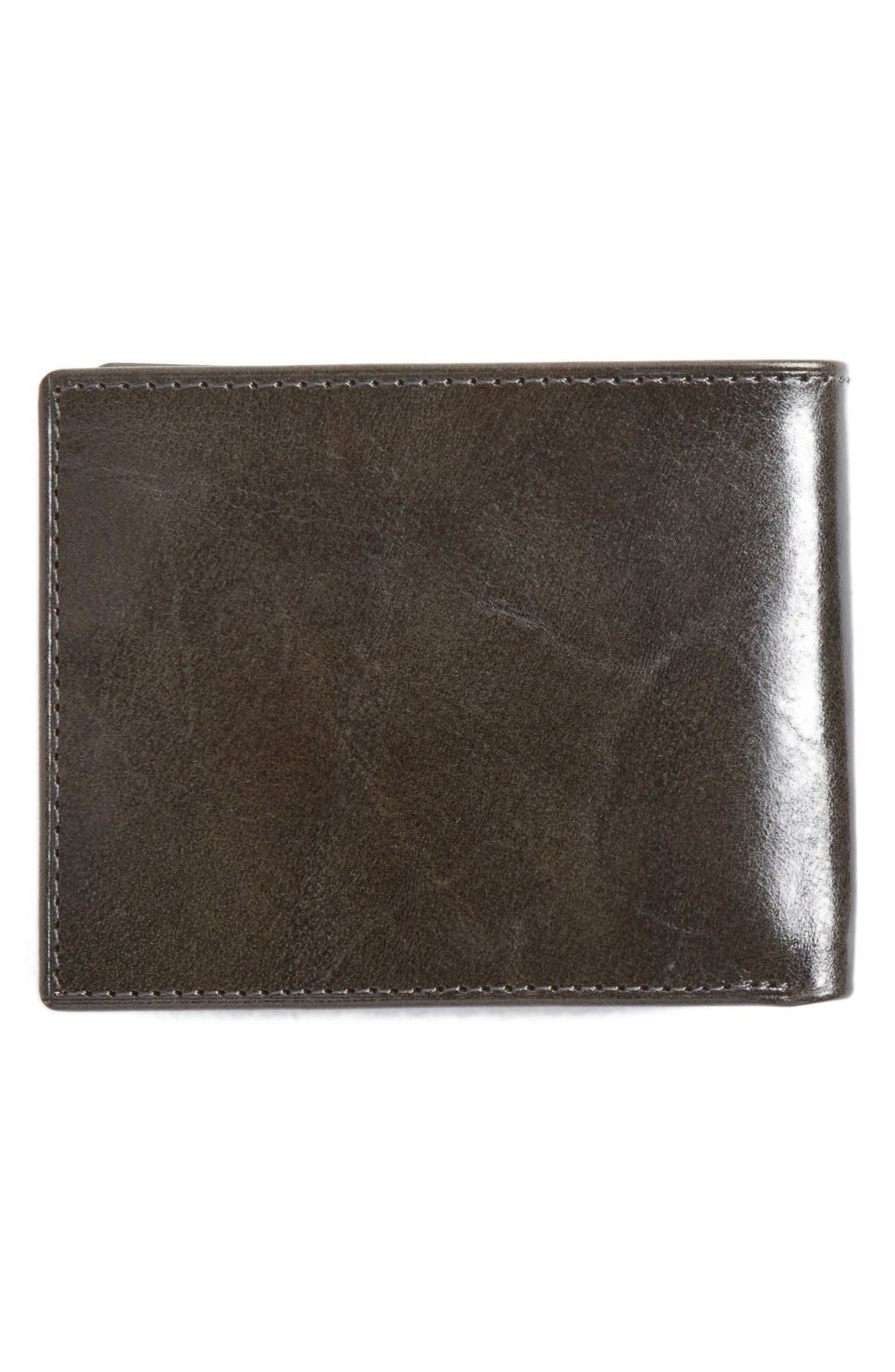 Flip Billfold Leather Wallet,                             Alternate thumbnail 4, color,                             CHARCOAL