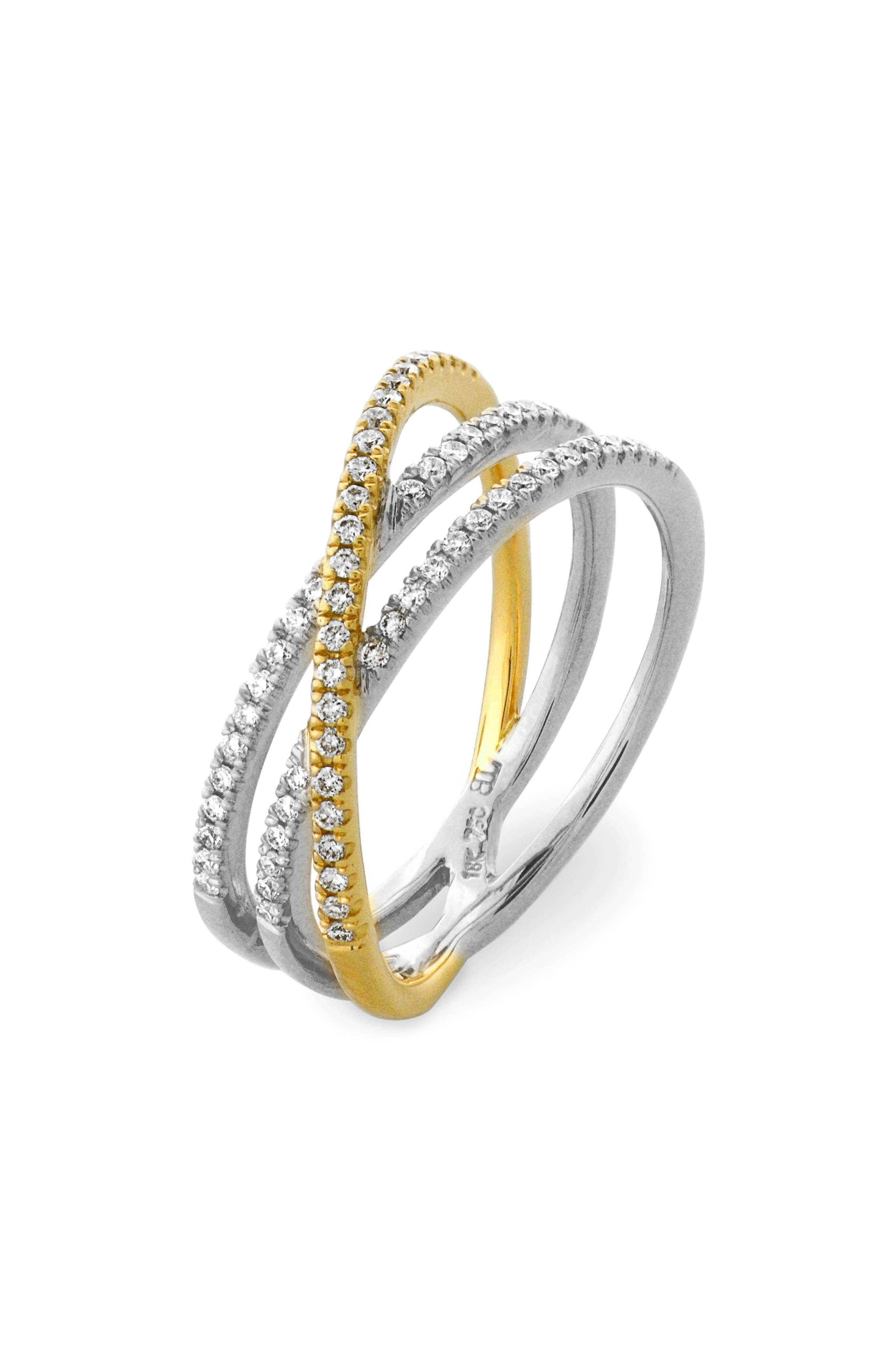 Crossover Three-Row Diamond Ring,                             Main thumbnail 2, color,