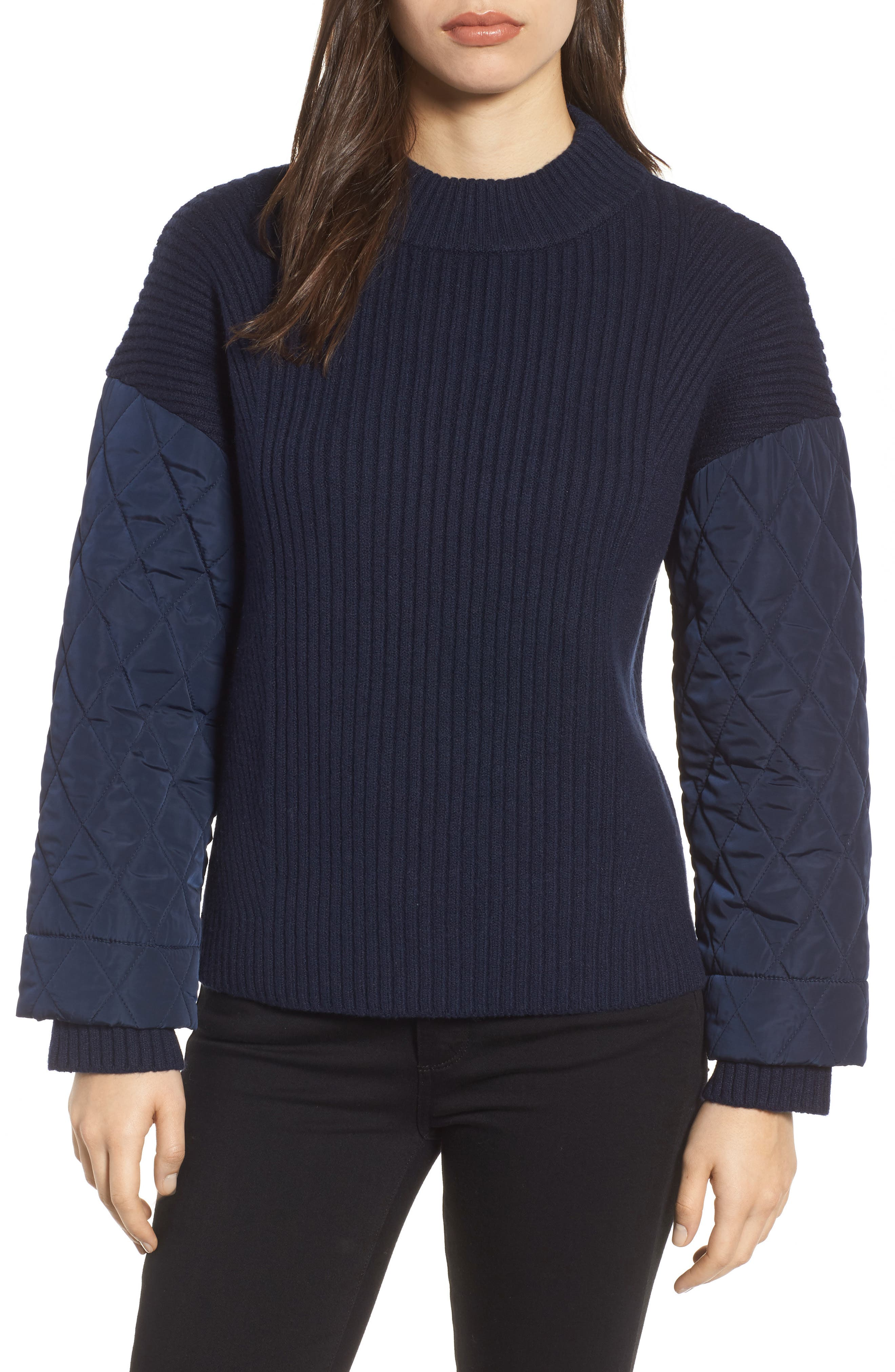 Quilted Sleeve Sweater,                             Main thumbnail 1, color,                             INDIGO