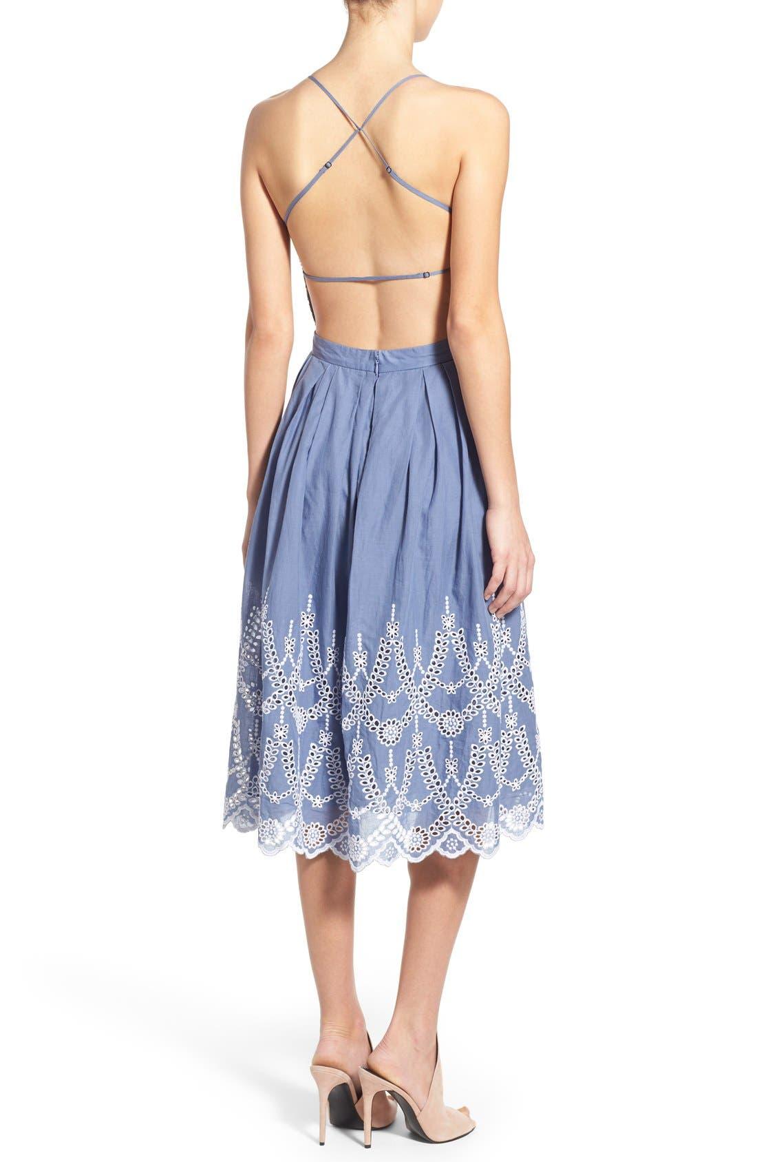 Cotton Eyelet Halter Dress,                             Alternate thumbnail 5, color,                             403