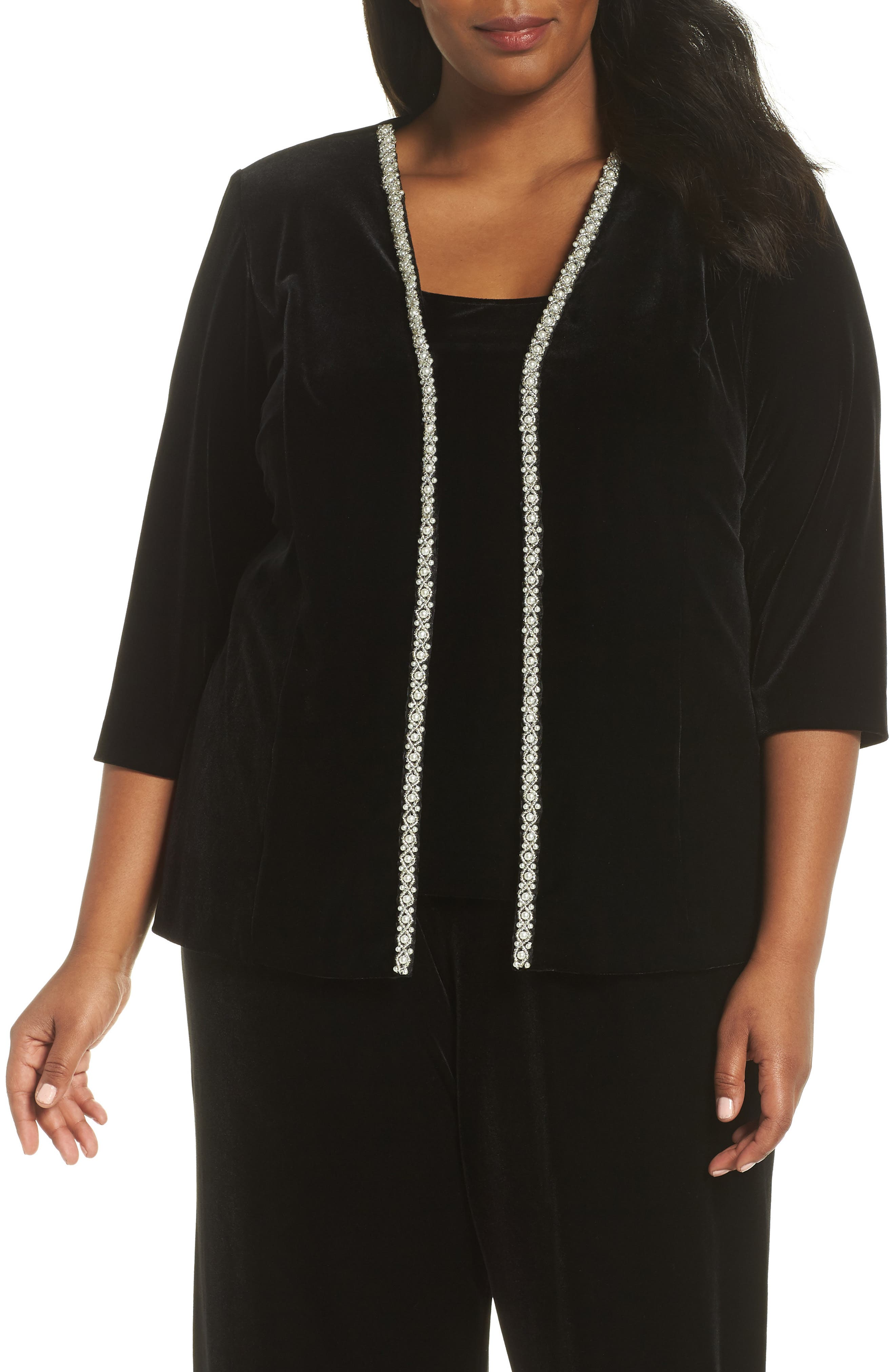 Imitation Pearl Embellished Twinset,                             Main thumbnail 1, color,                             BLACK