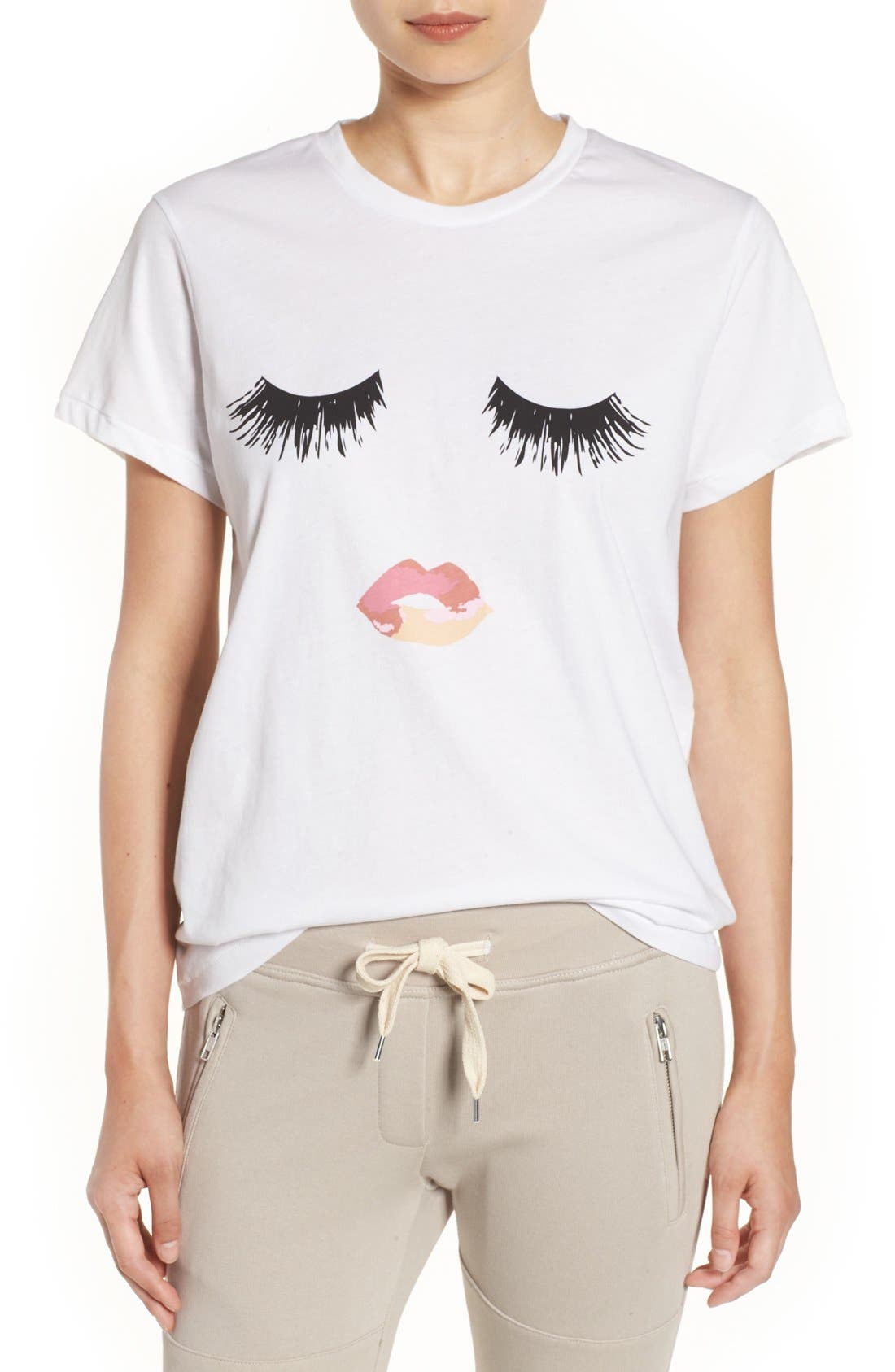 'Lips & Lashes' Graphic Tee, Main, color, 100
