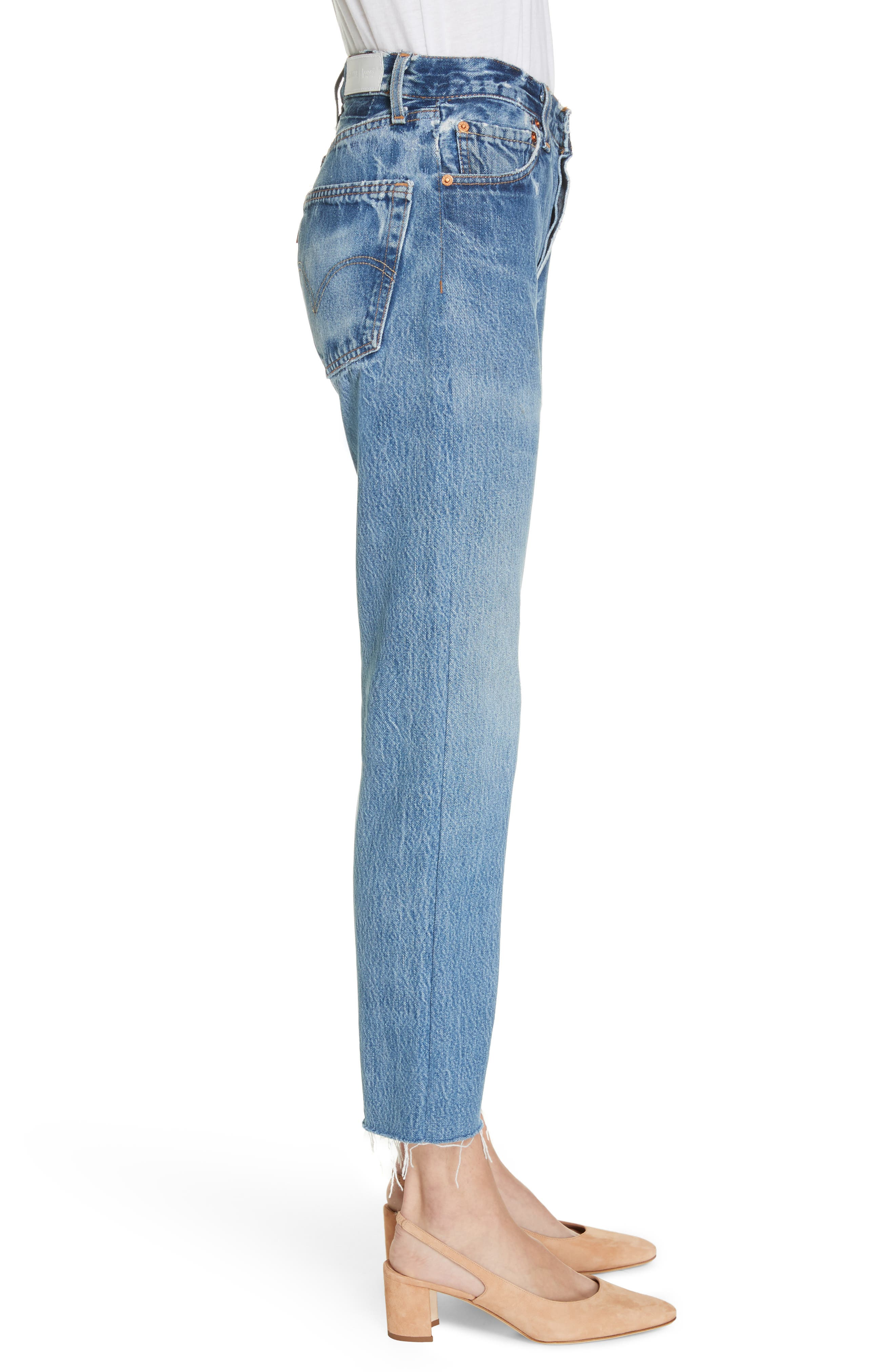 High Waist Stovepipe Jeans,                             Alternate thumbnail 3, color,                             INDIGO