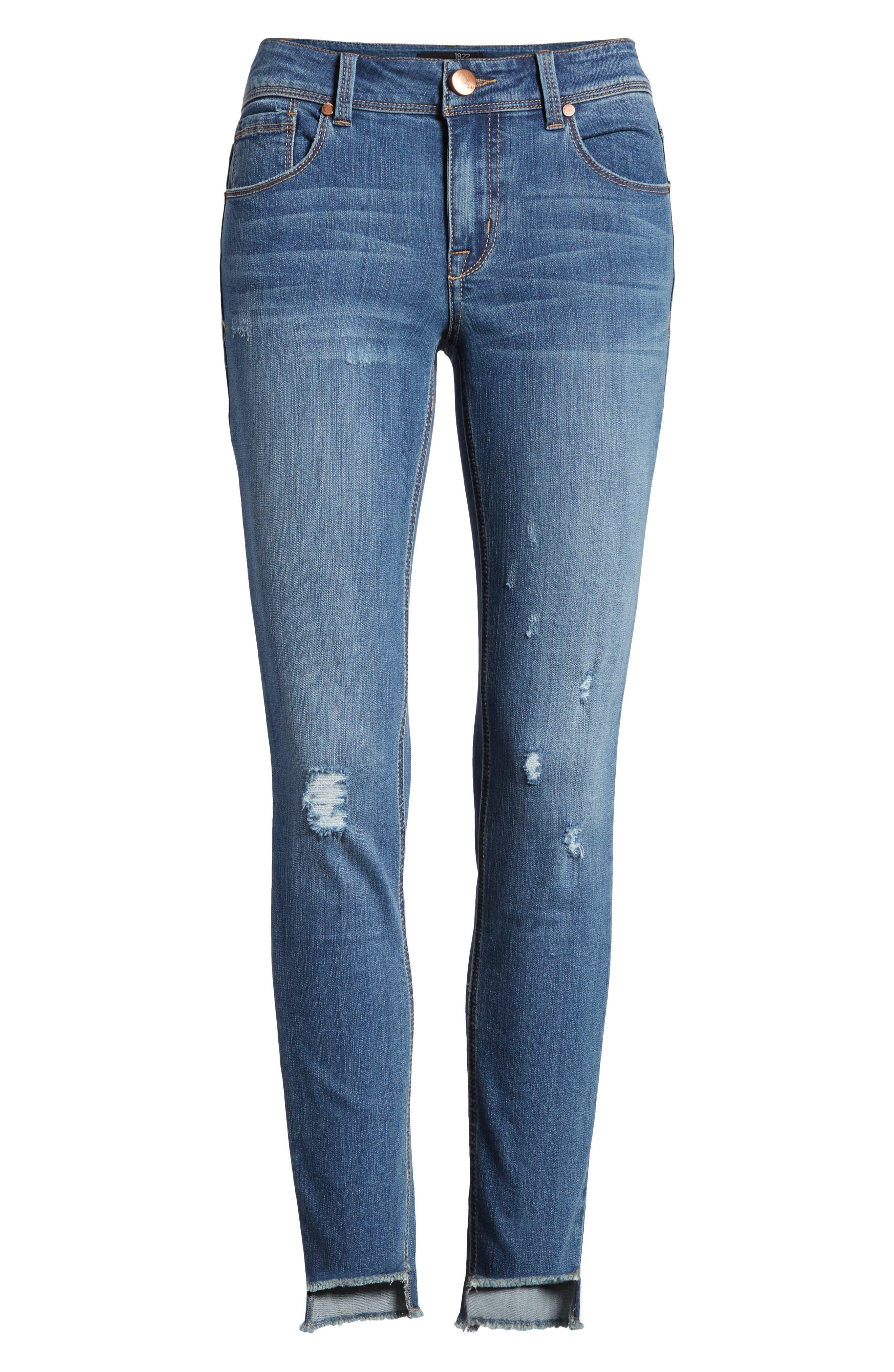 Ripped Step Hem Skinny Jeans,                             Alternate thumbnail 7, color,