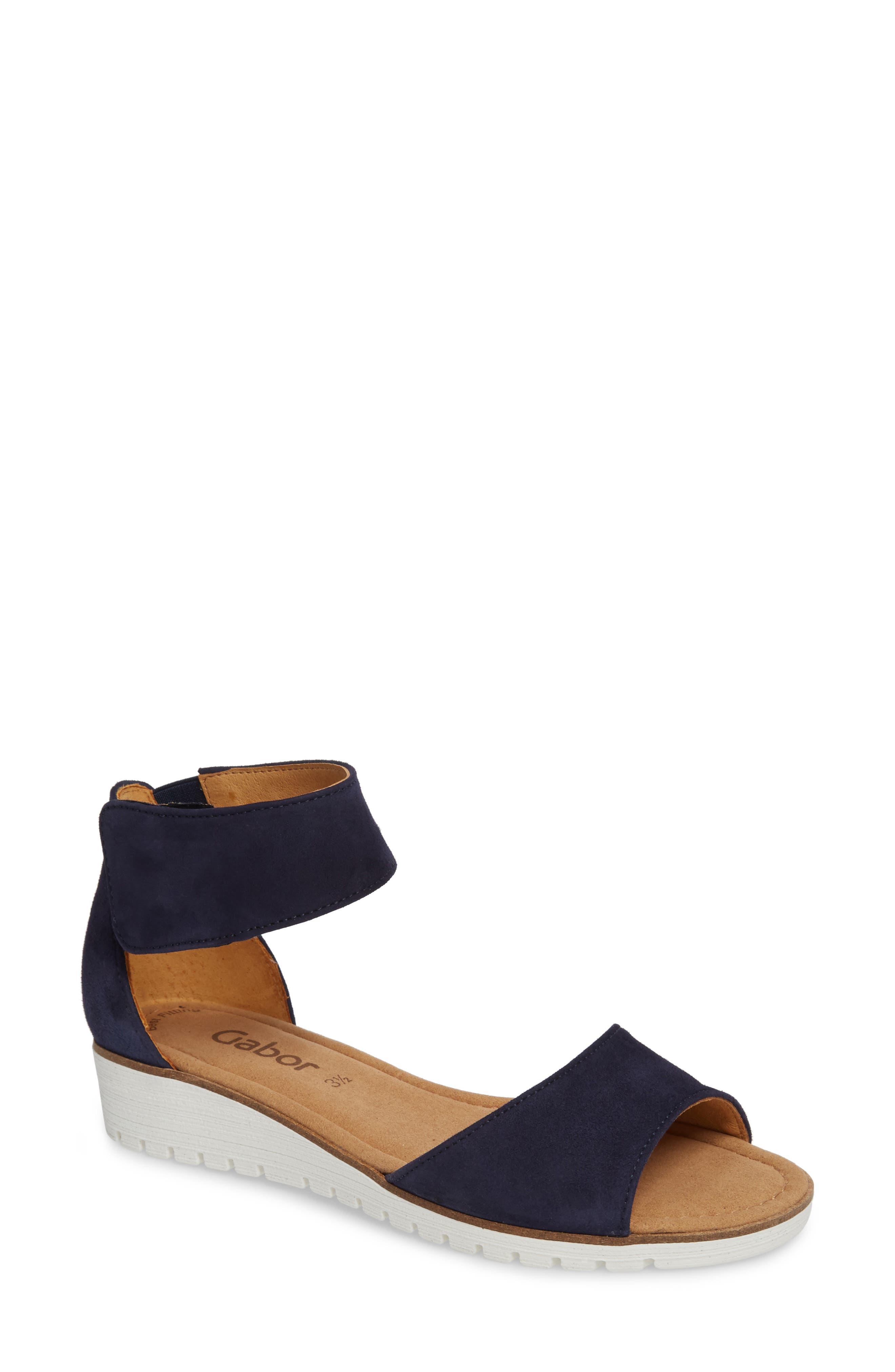 Ankle Strap Sandal,                             Main thumbnail 1, color,                             BLUE SUEDE