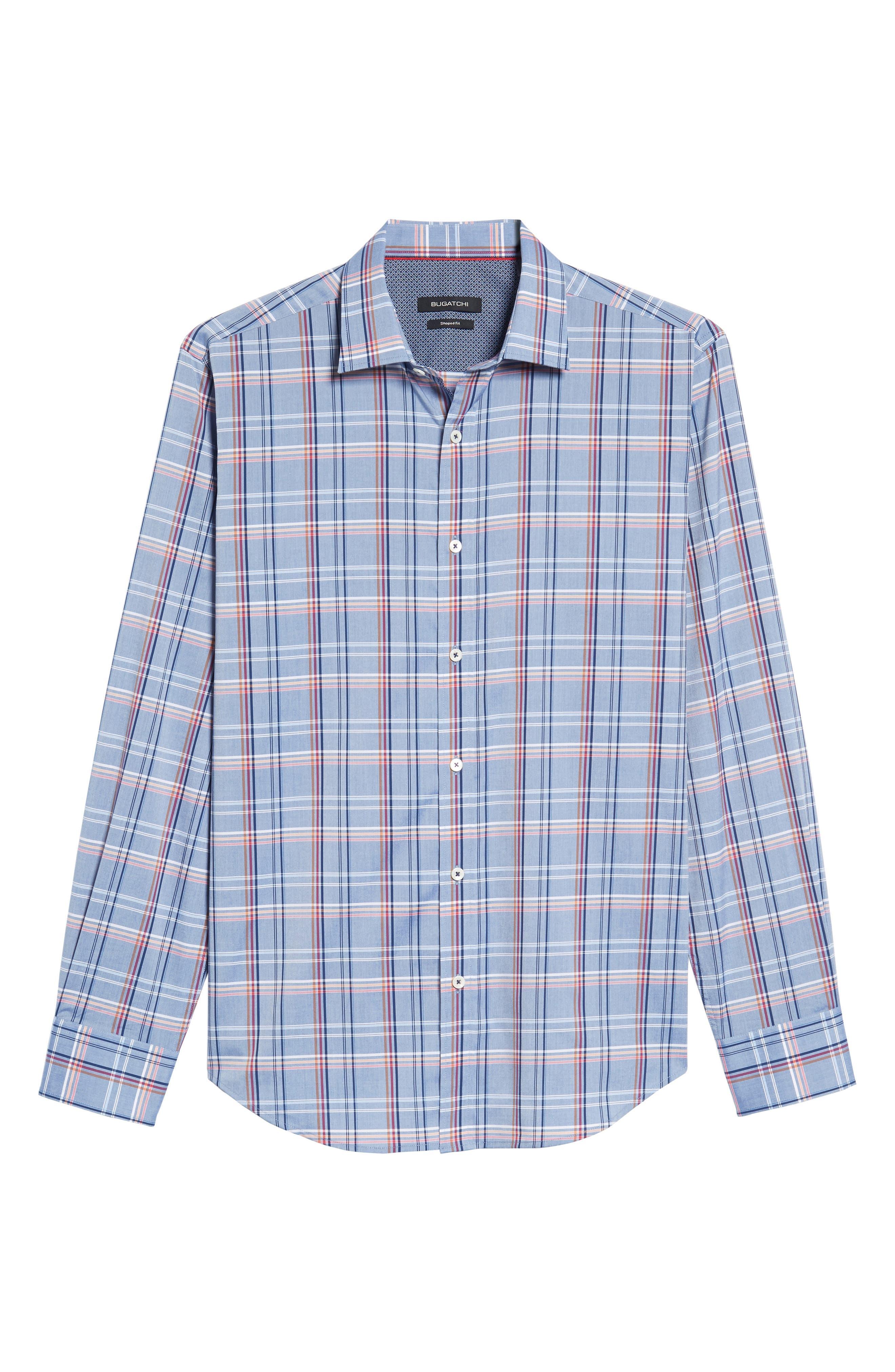 Shaped Fit Plaid Sport Shirt,                             Alternate thumbnail 6, color,                             030