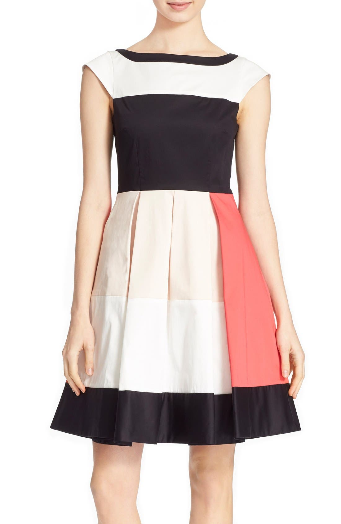 'adette' colorblock fit & flare dress,                         Main,                         color, 110
