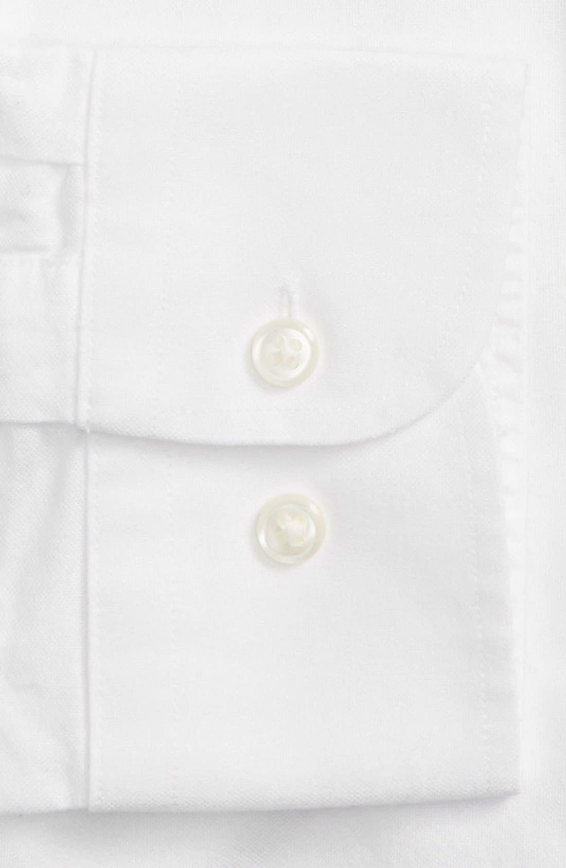 Trim Fit Solid Oxford Dress Shirt,                             Alternate thumbnail 3, color,                             100