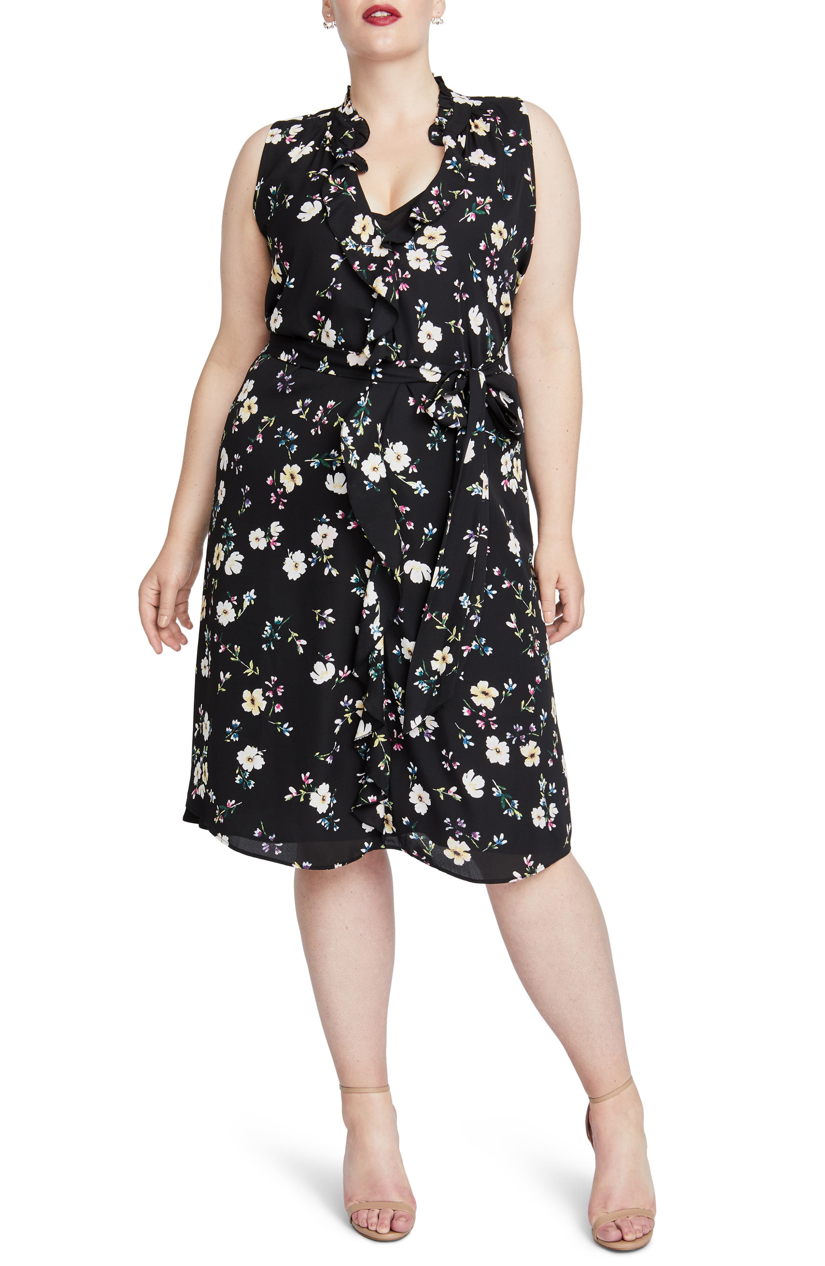 Brit Sleeveless Floral Dress,                         Main,                         color, BLACK COMBO