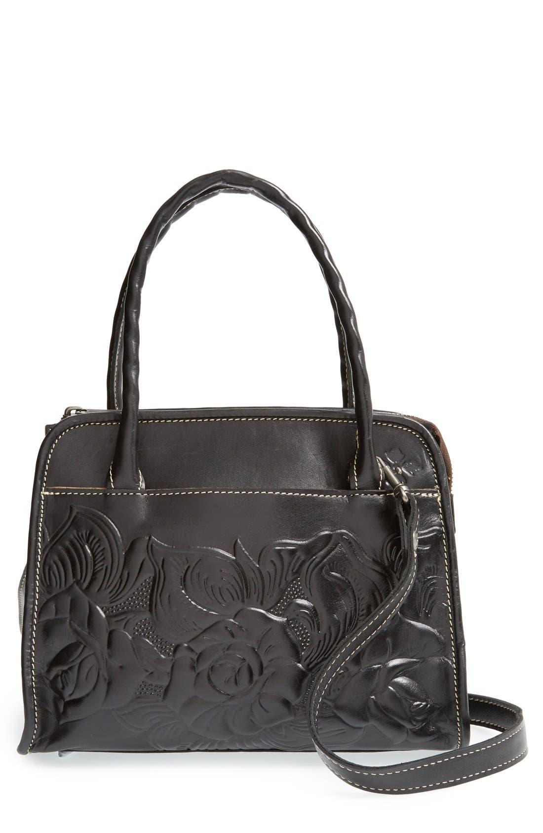 'Winter Rose - Paris' Italian Leather Satchel, Main, color, 001
