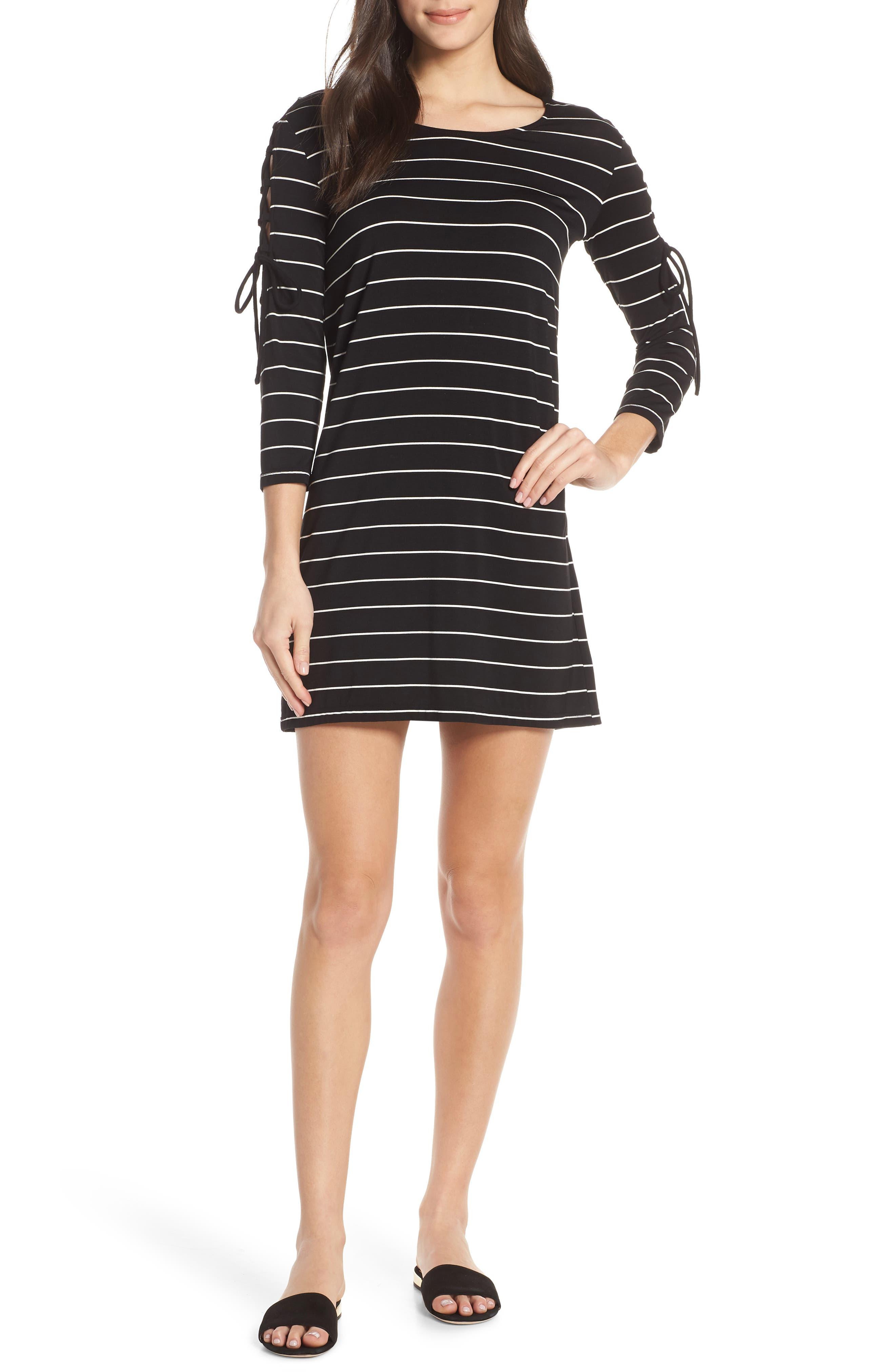 Bb Dakota Here Kitty, Kitty Stripe Lace-Up Sleeve Dress, Black