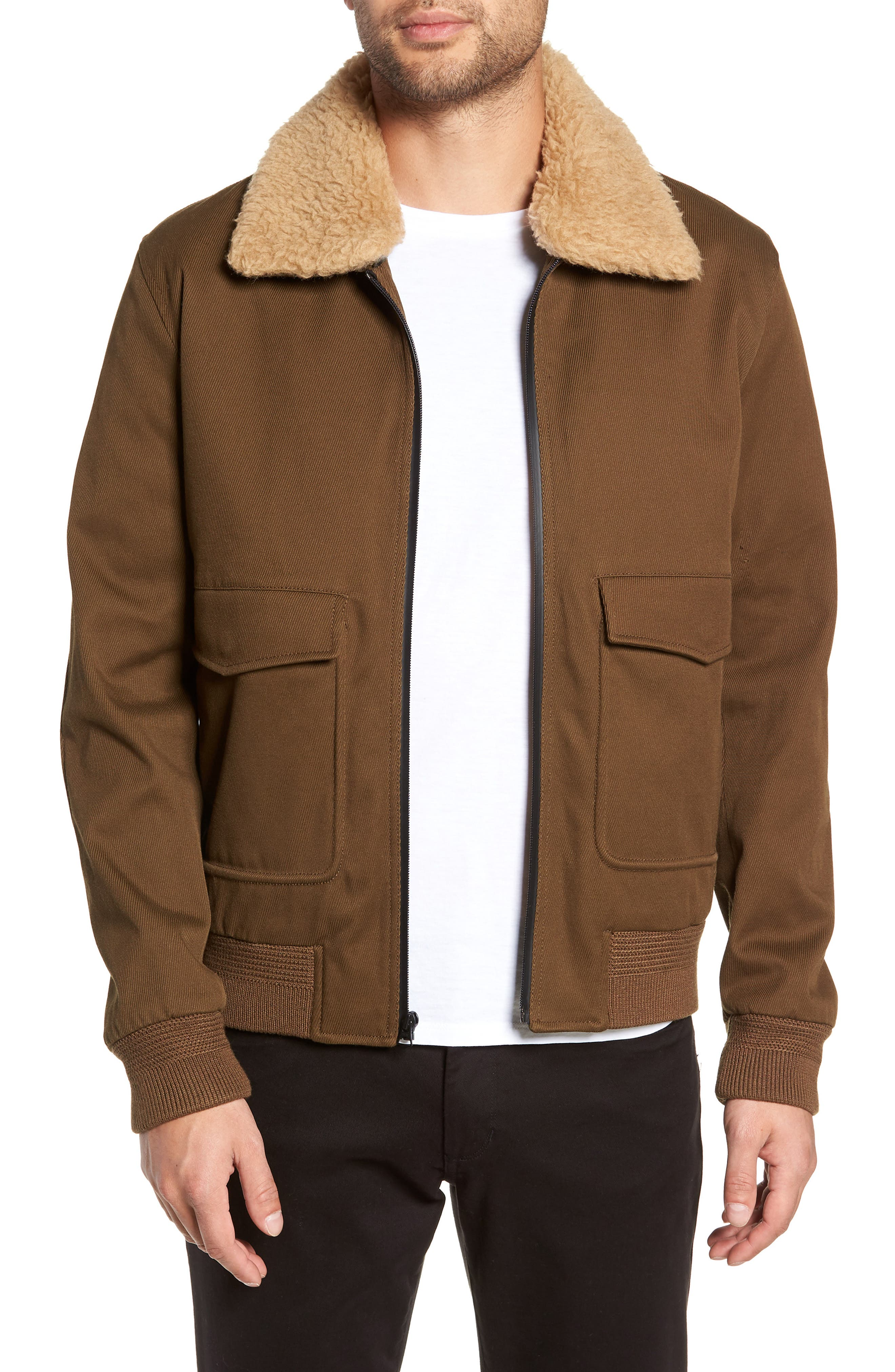 Regular Fit Bomber Jacket with Faux Shearling Collar,                         Main,                         color, INFANTRY GREEN