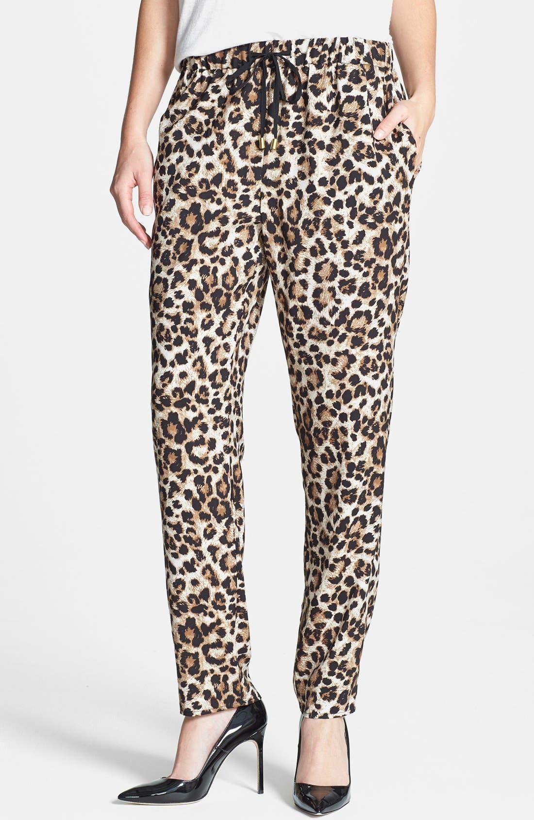 Leopard Print Drawstring Pants,                             Main thumbnail 1, color,                             001