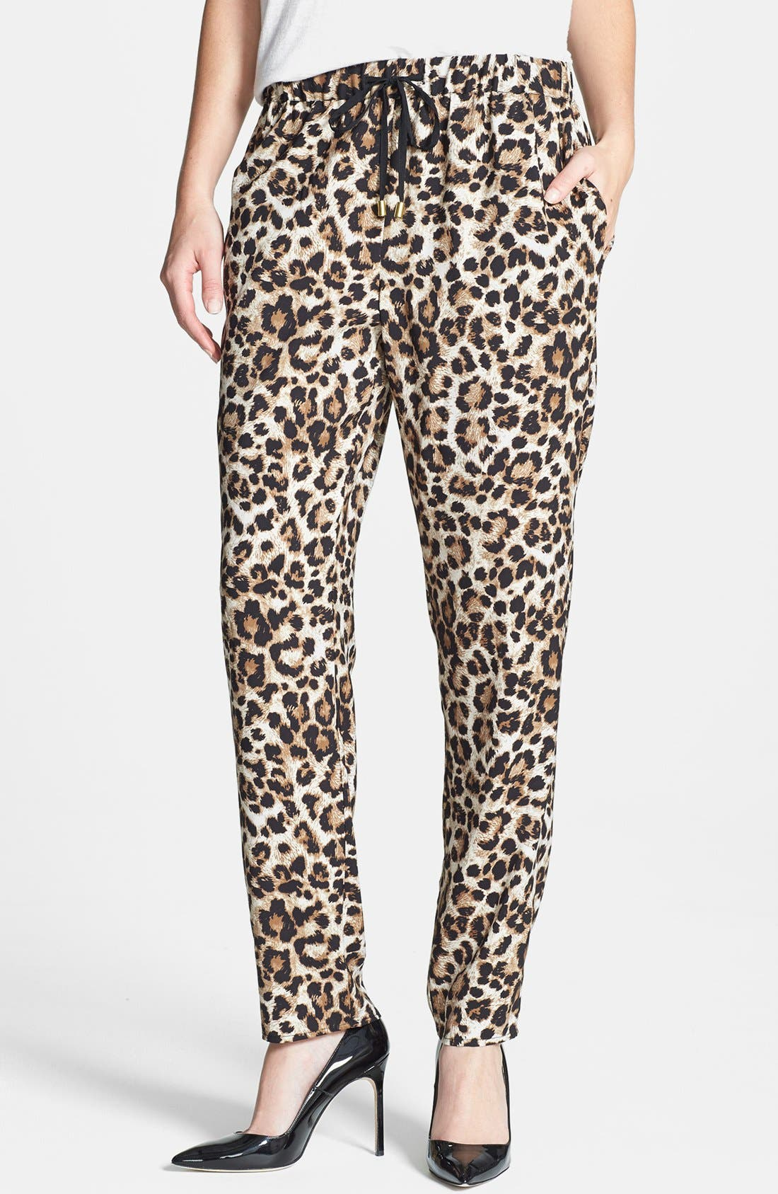 Leopard Print Drawstring Pants,                         Main,                         color, 001