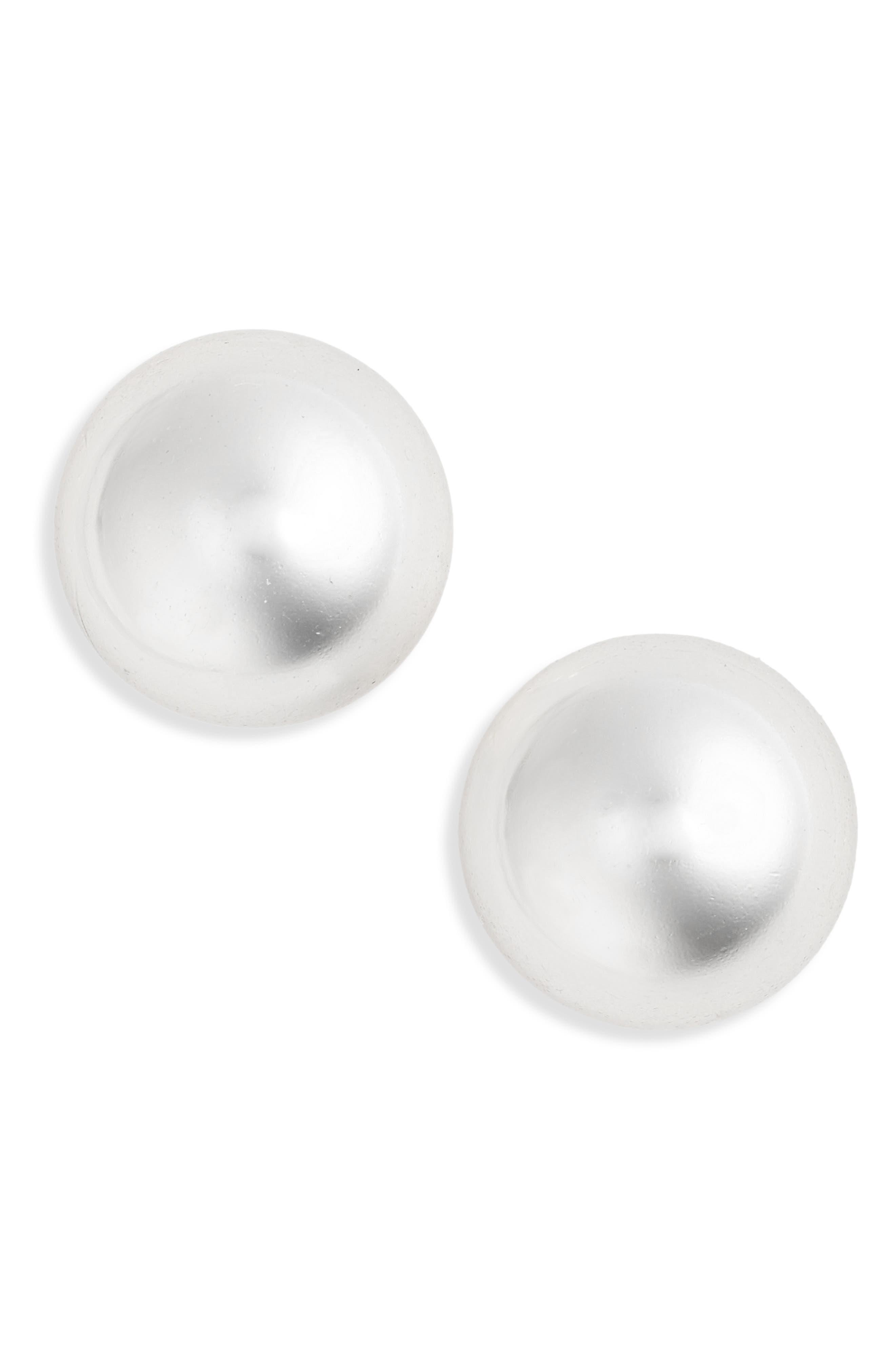 Ball Stud Earrings,                             Main thumbnail 1, color,                             SILVER
