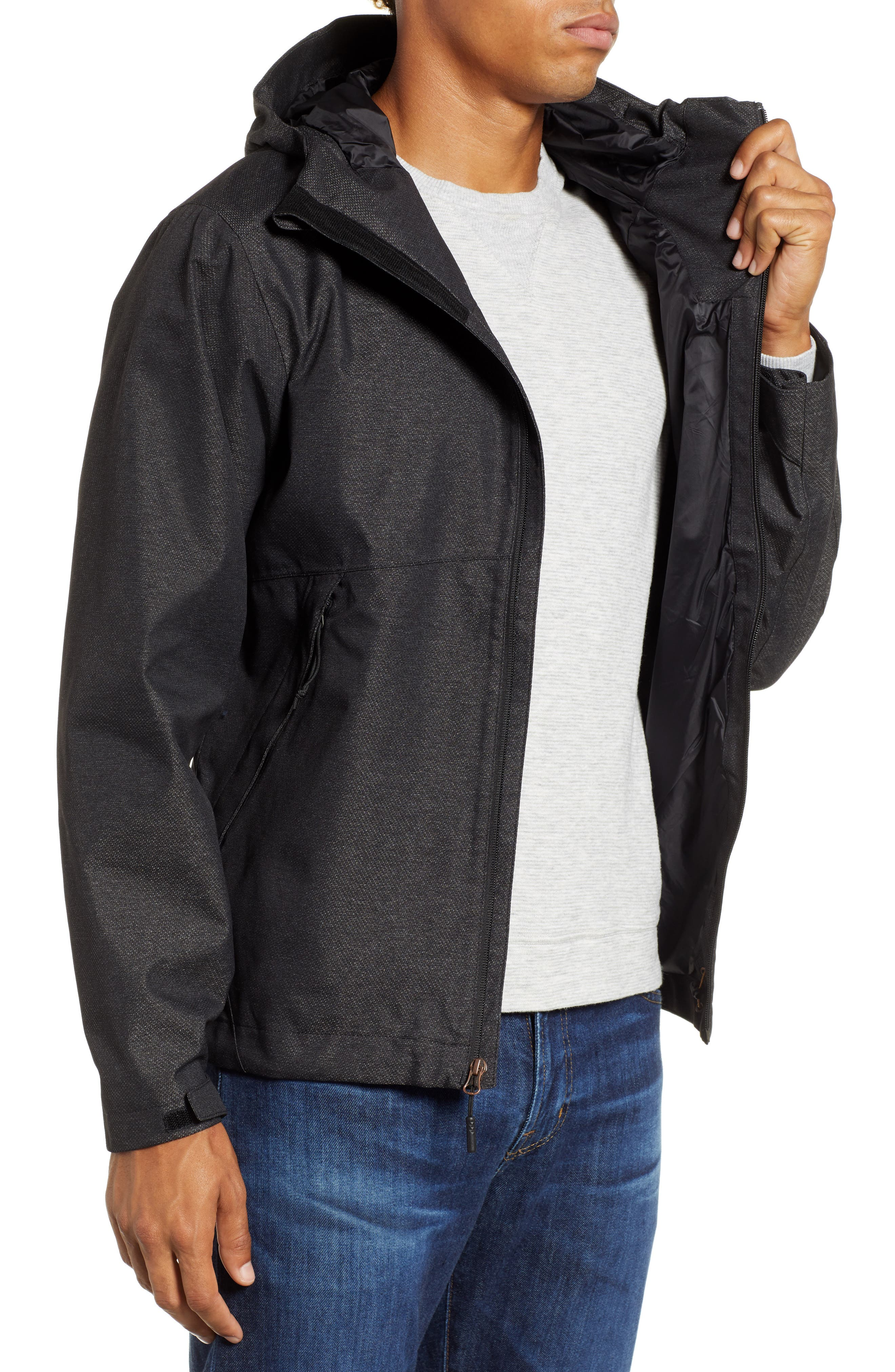 Millerton Hooded Waterproof Jacket,                             Alternate thumbnail 3, color,                             TNF BLACK / METALLIC COPPER