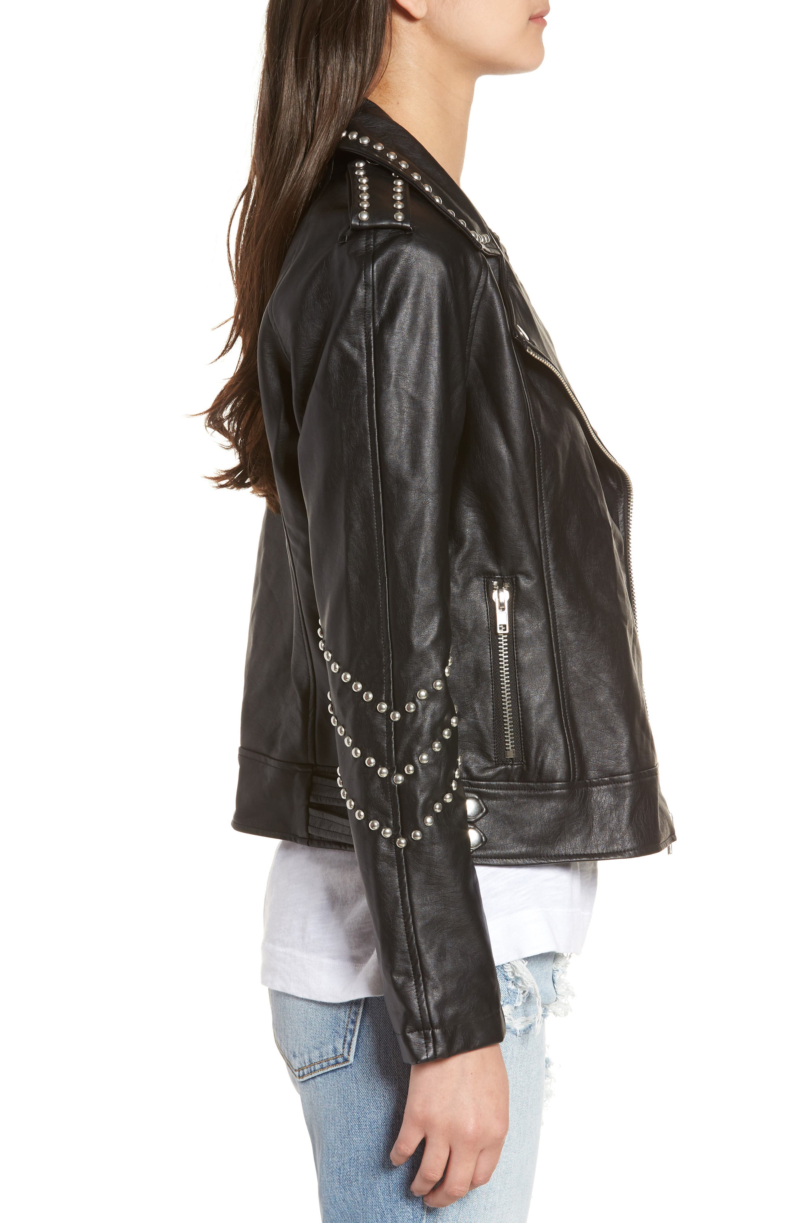 Jerilyn Studded Washed Faux Leather Jacket,                             Alternate thumbnail 3, color,                             001
