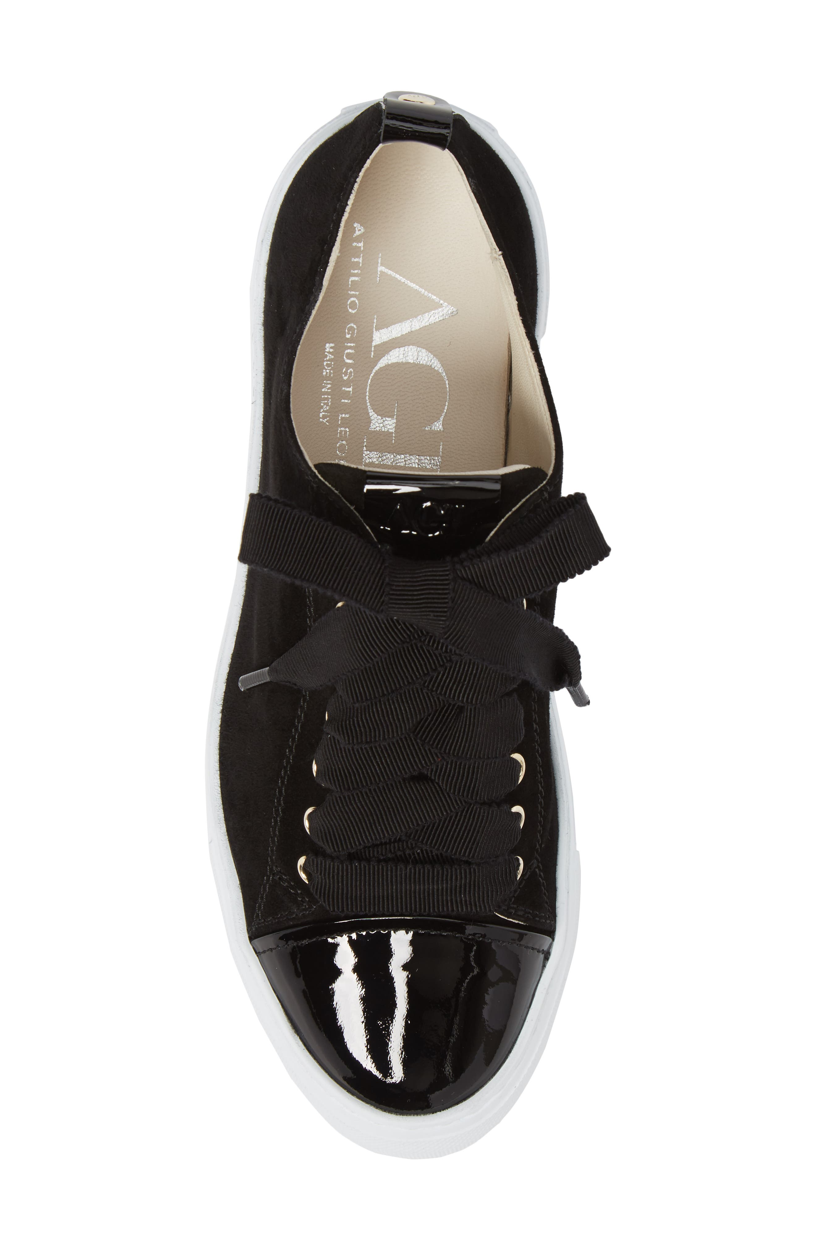 Cap Toe Platform Sneaker,                             Alternate thumbnail 5, color,                             001