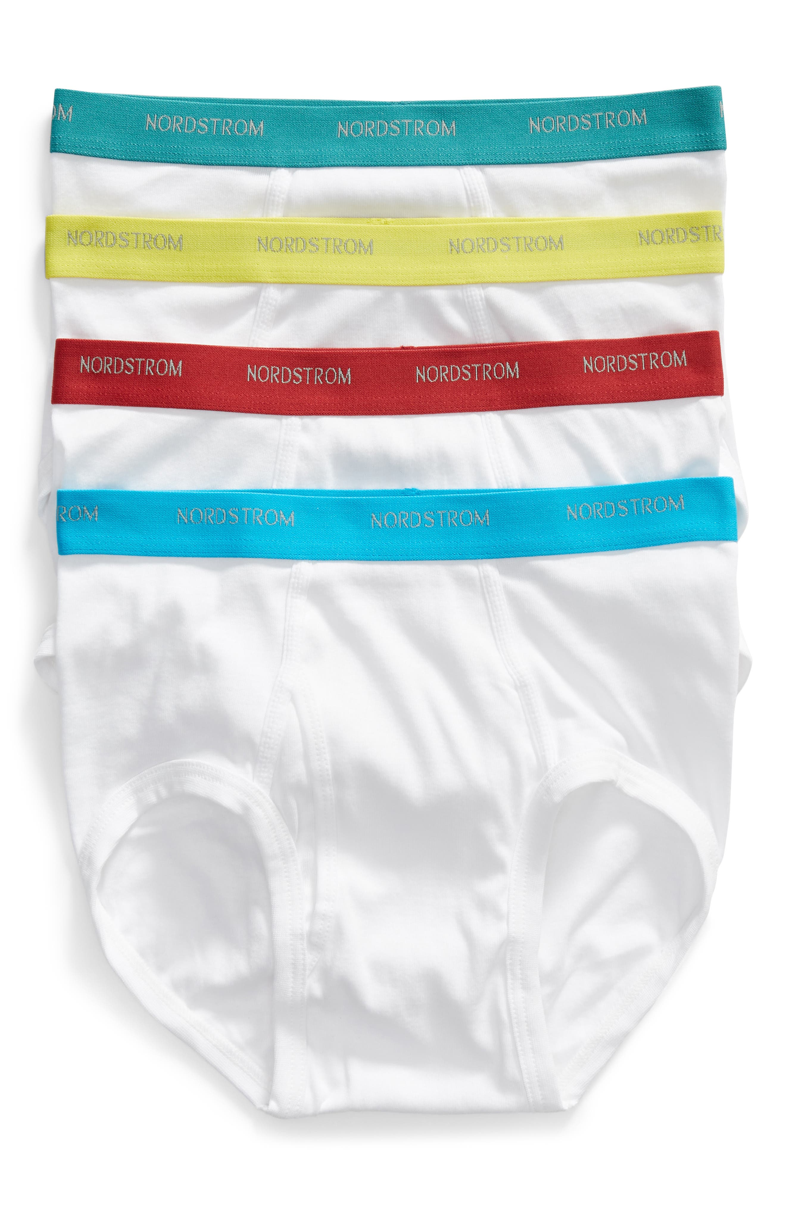 4-Pack Supima<sup>®</sup> Cotton Briefs,                         Main,                         color, WHITE- TEAL/ GREEN/ RED