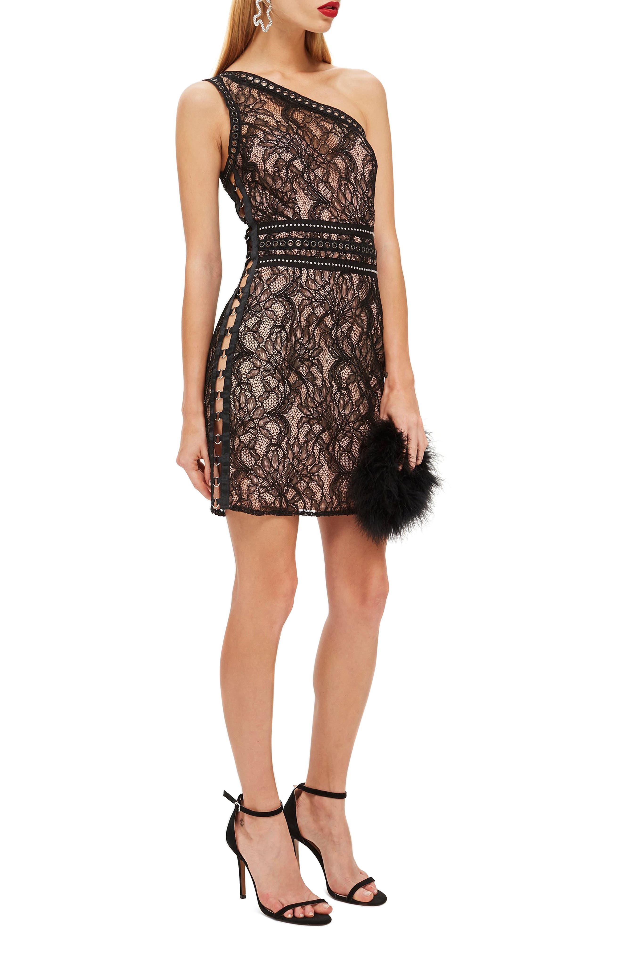 One-Shoulder Lace Body-Con Dress,                         Main,                         color, BLACK MULTI