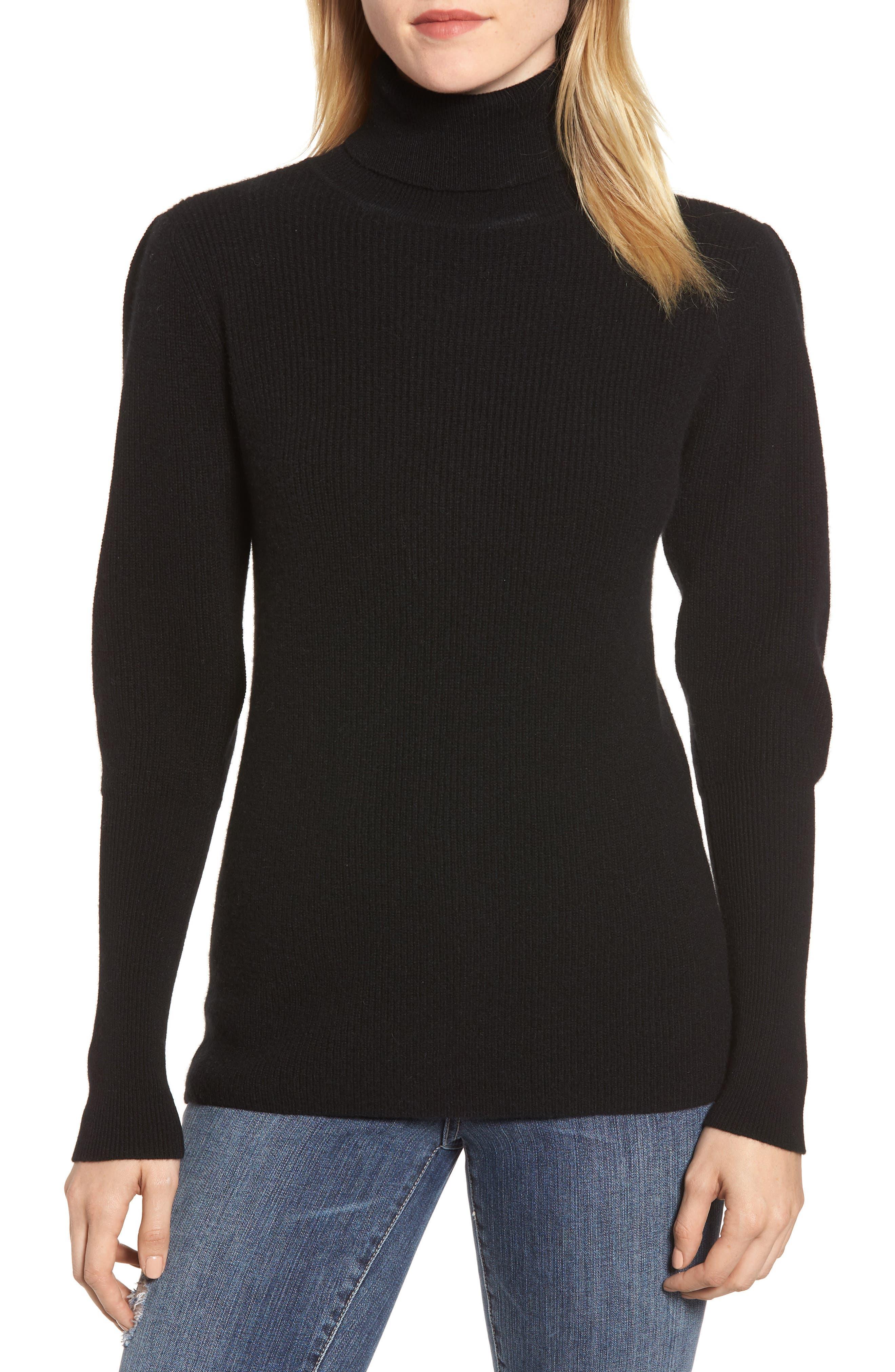 Cashmere Puff Sleeve Turtleneck,                             Main thumbnail 1, color,                             BLACK
