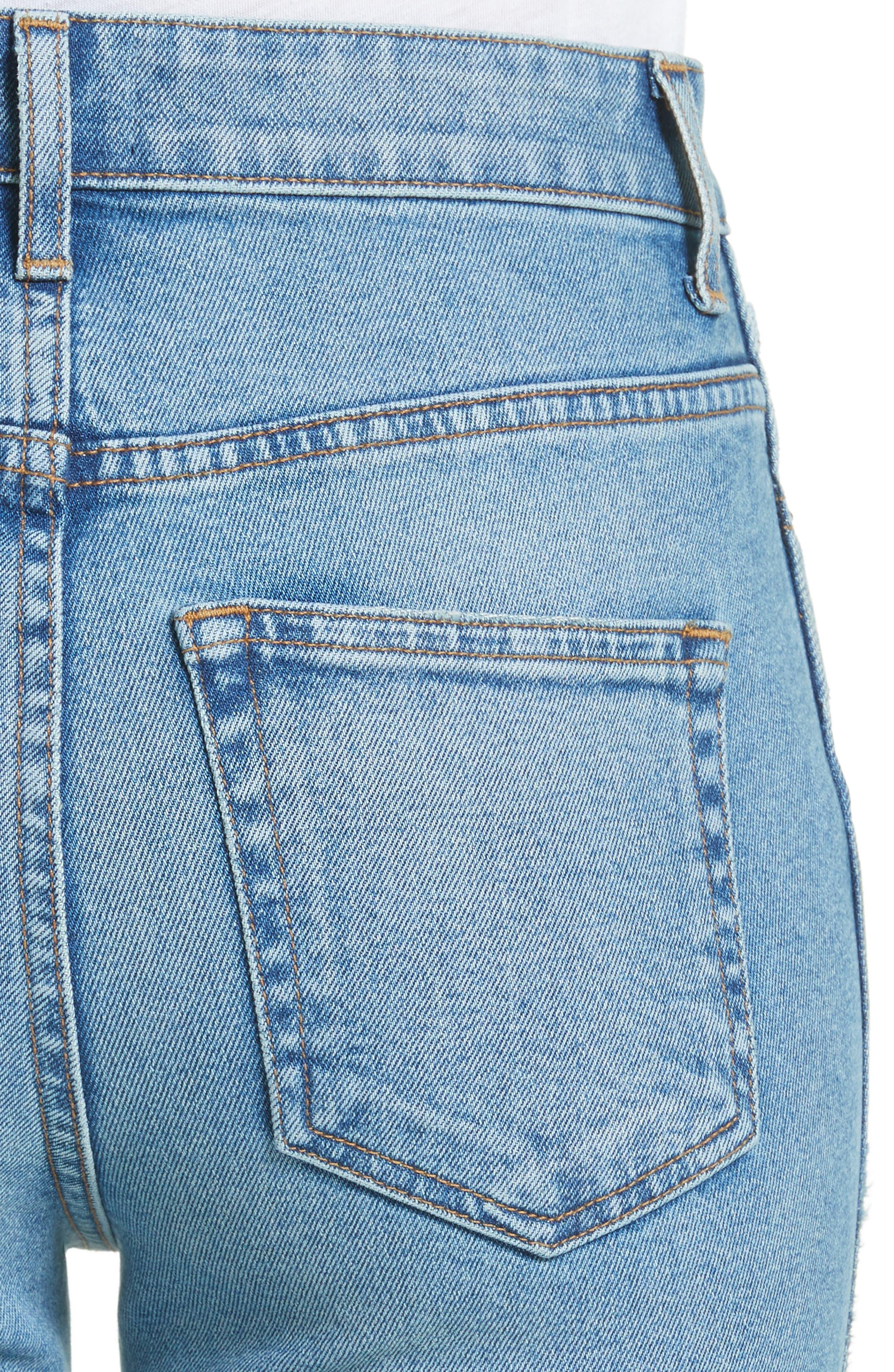Victoria Straight Leg Jeans,                             Alternate thumbnail 4, color,                             MEDIUM CREASE