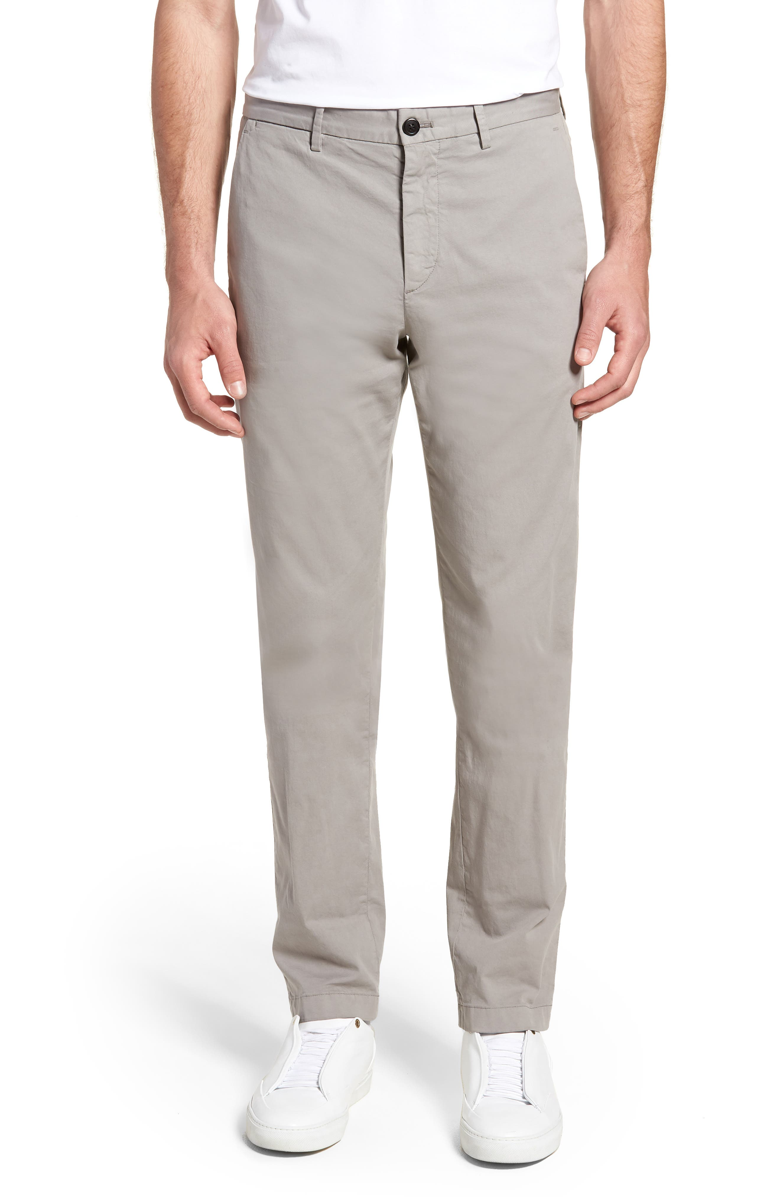 Zaine Patton Flat Front Stretch Solid Cotton Pants,                         Main,                         color, DIM