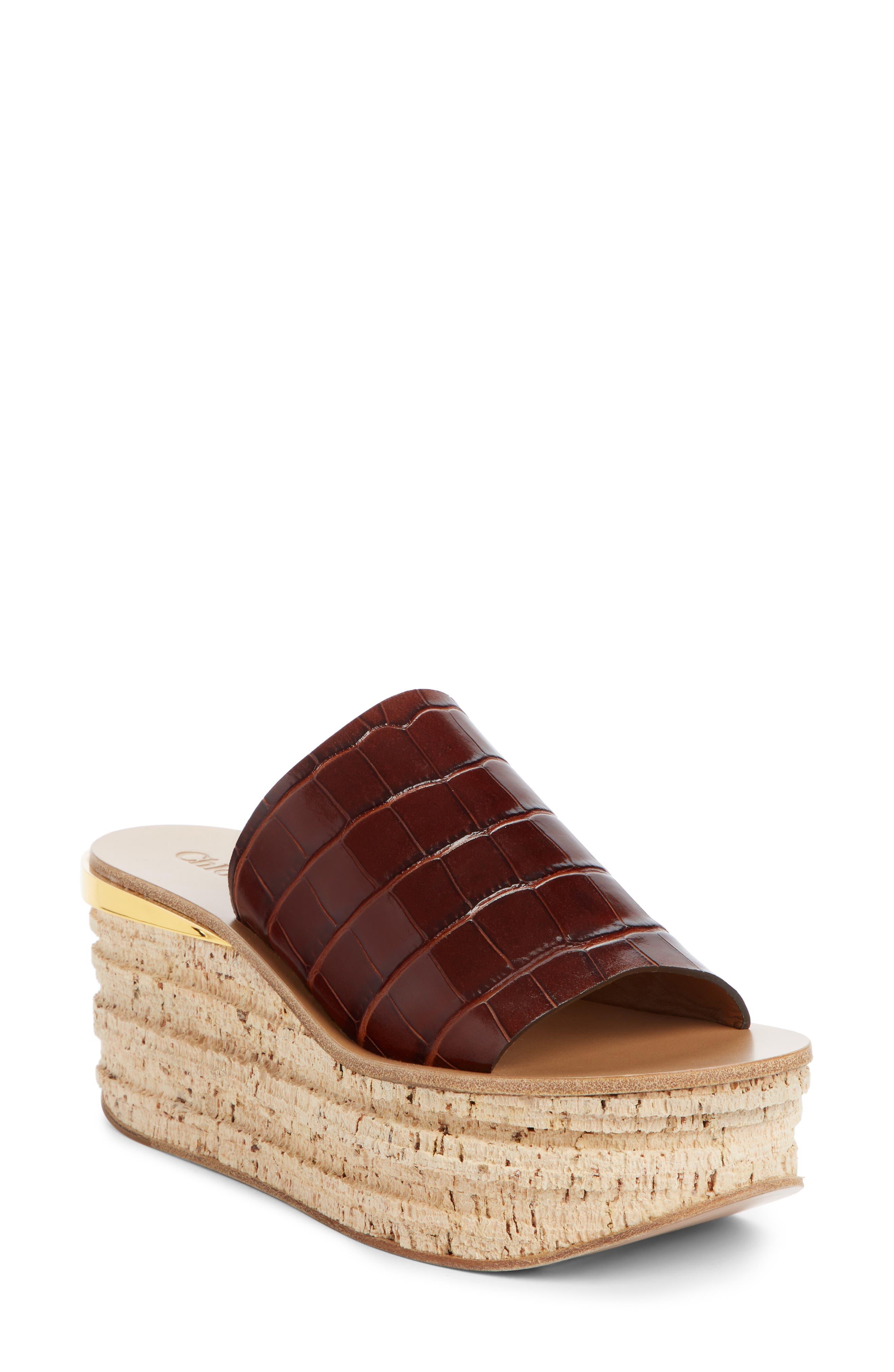 Chloe Camille Croc Embossed Cork Platform Wedge Sandal - Brown