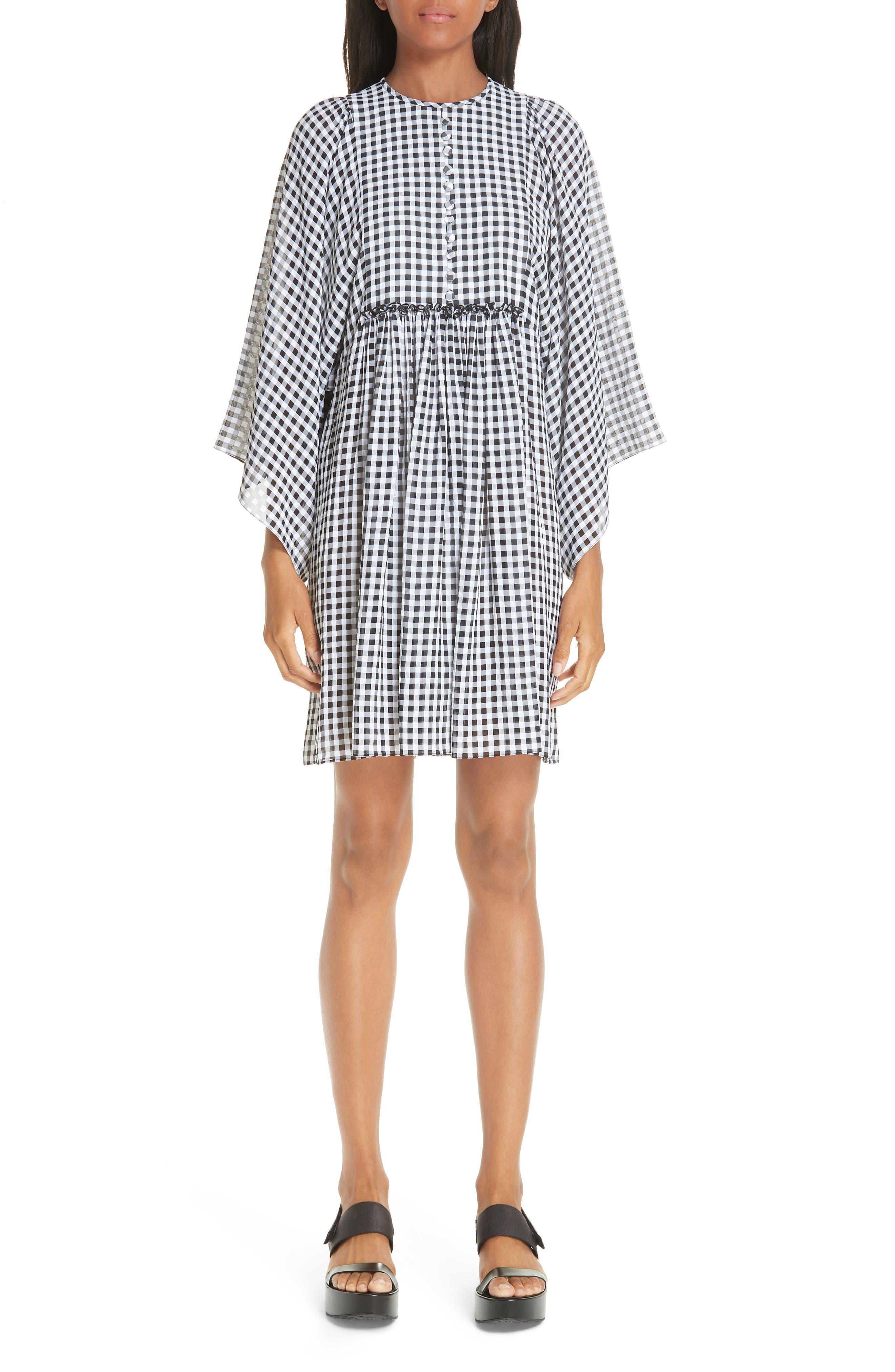 Michael Kors Gingham Seersucker Georgette Dress, Black