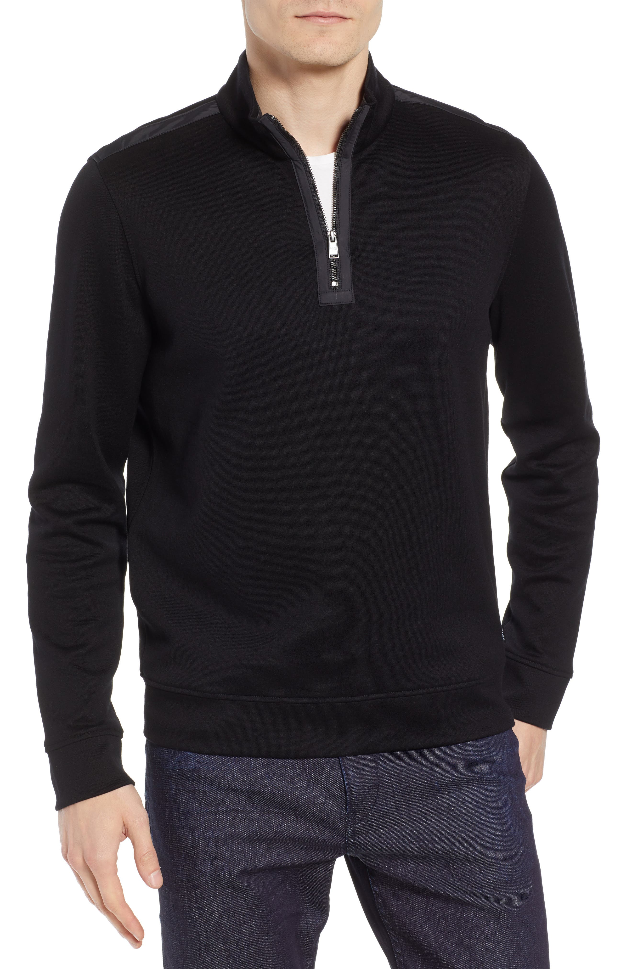 Sidney Regular Fit Quarter Zip Pullover,                             Main thumbnail 1, color,                             BLACK
