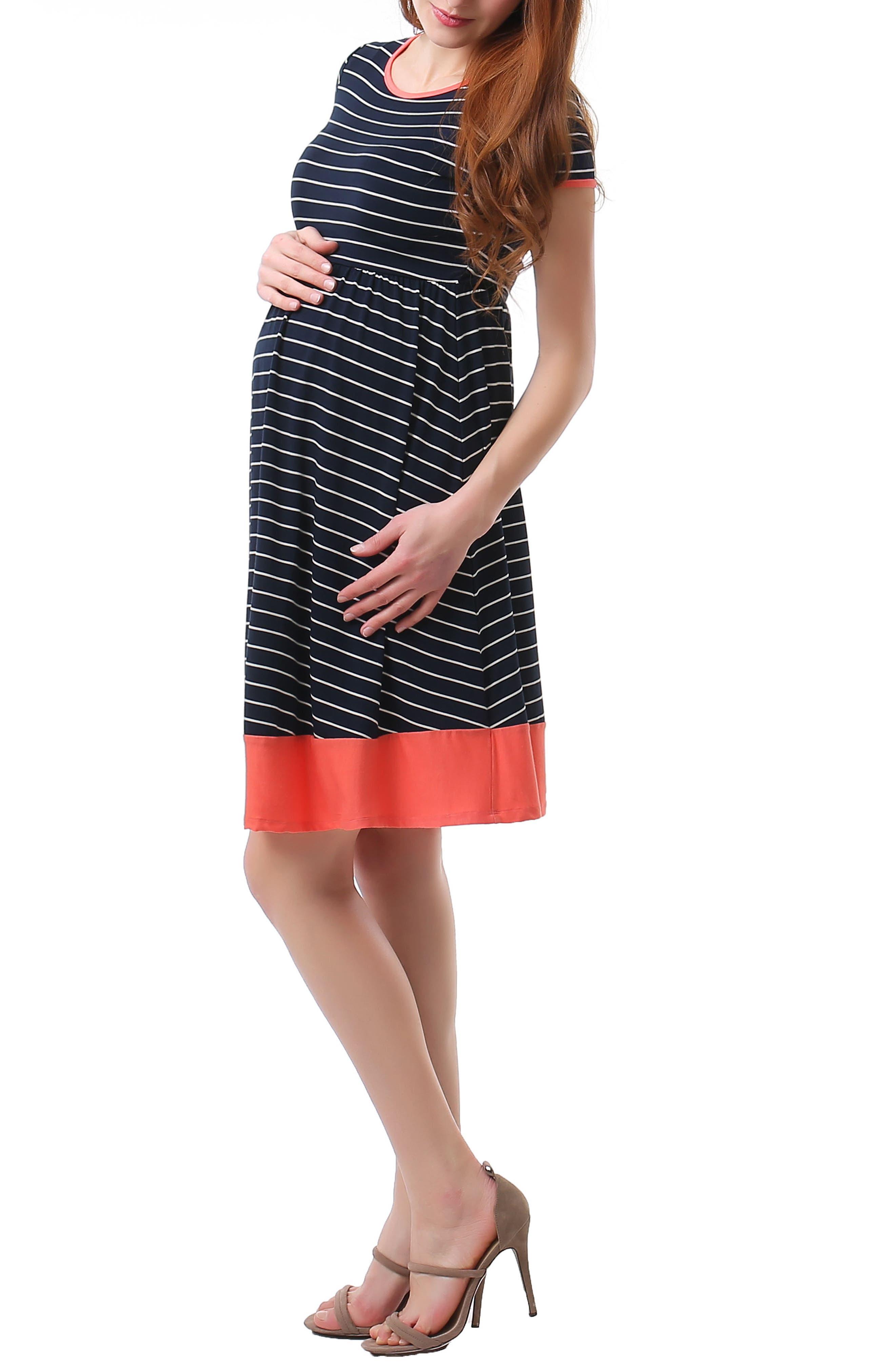 Kira Stripe Maternity Skater Dress,                             Alternate thumbnail 4, color,