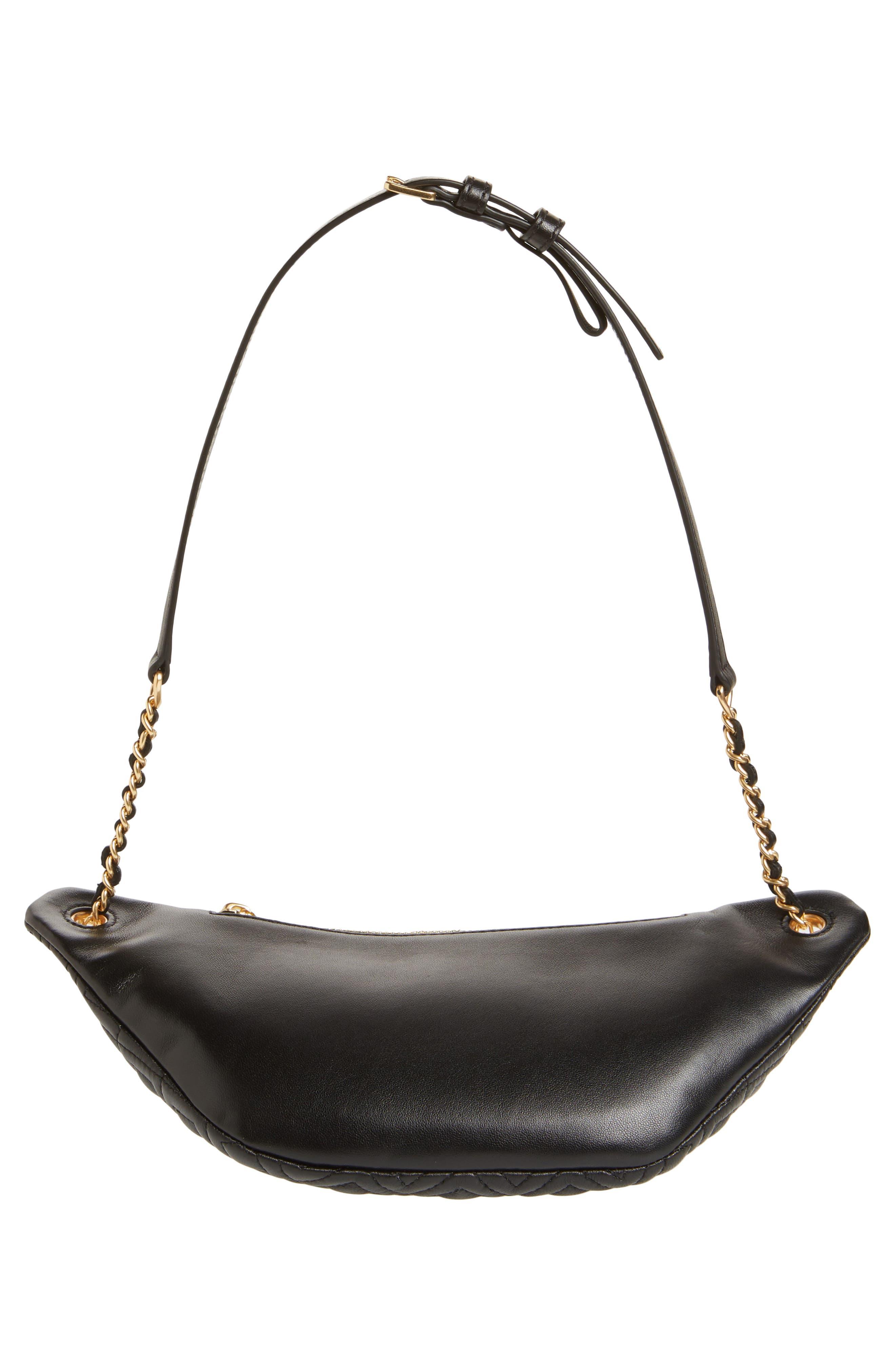 Fleming Quilted Leather Belt Bag,                             Alternate thumbnail 7, color,                             BLACK