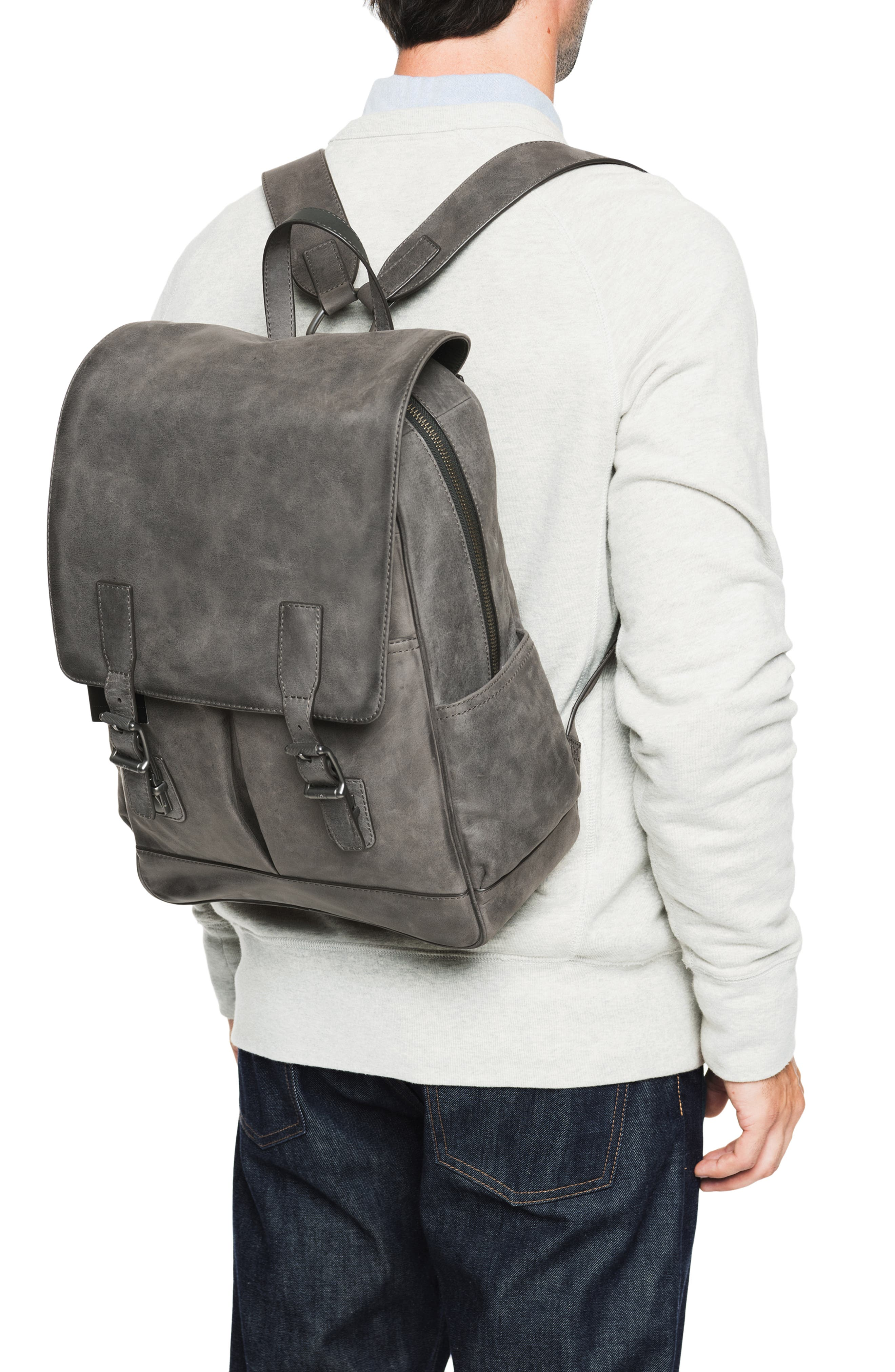 Oliver Leather Backpack,                             Alternate thumbnail 2, color,                             SLATE