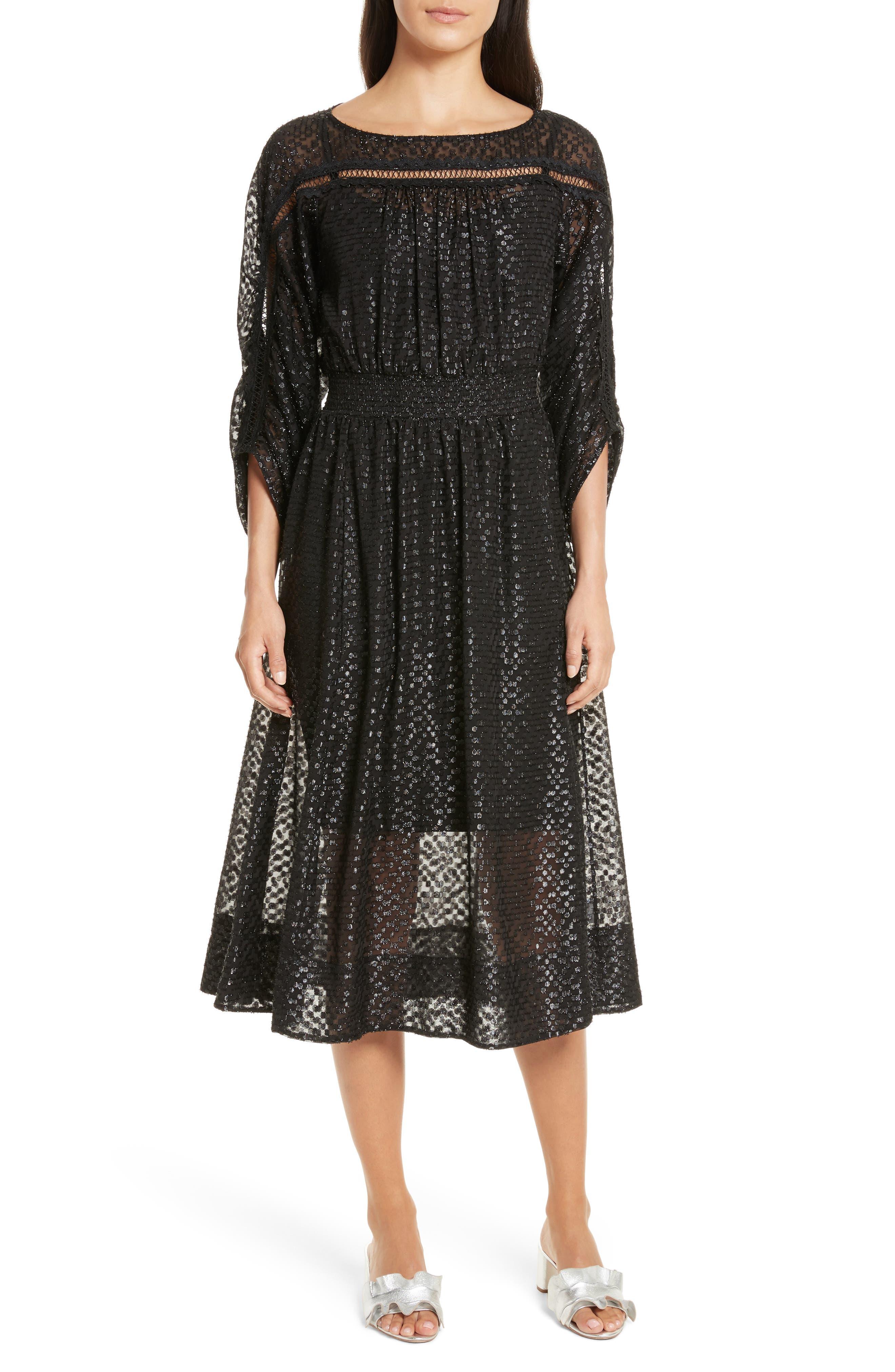 Long Sleeve Metallic Dot Midi Dress,                         Main,                         color, 001
