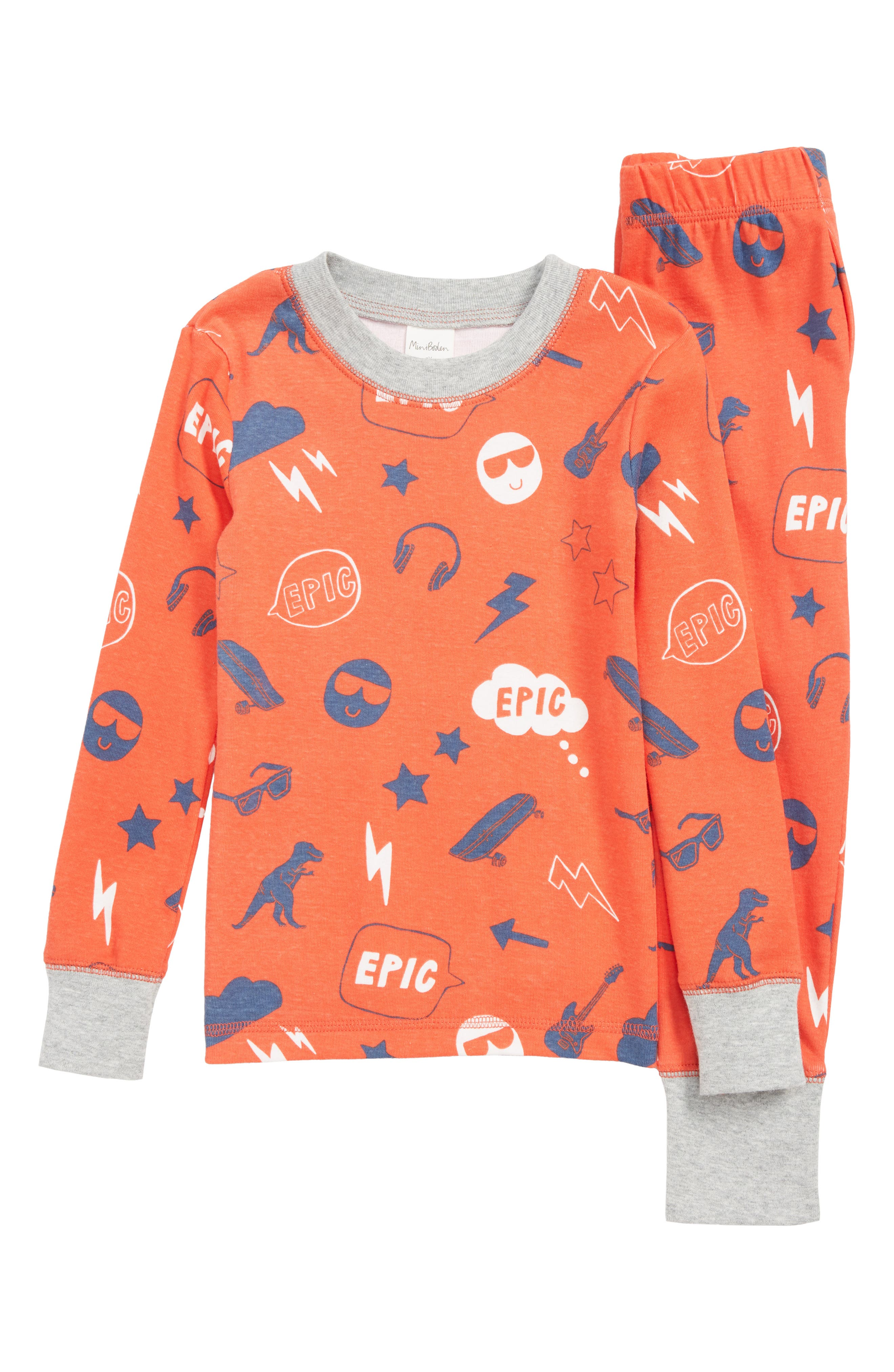 BODEN Mini Boden Glow in the Dark Fitted Two-Piece Pajamas, Main, color, RED BEAM RED EMOJI