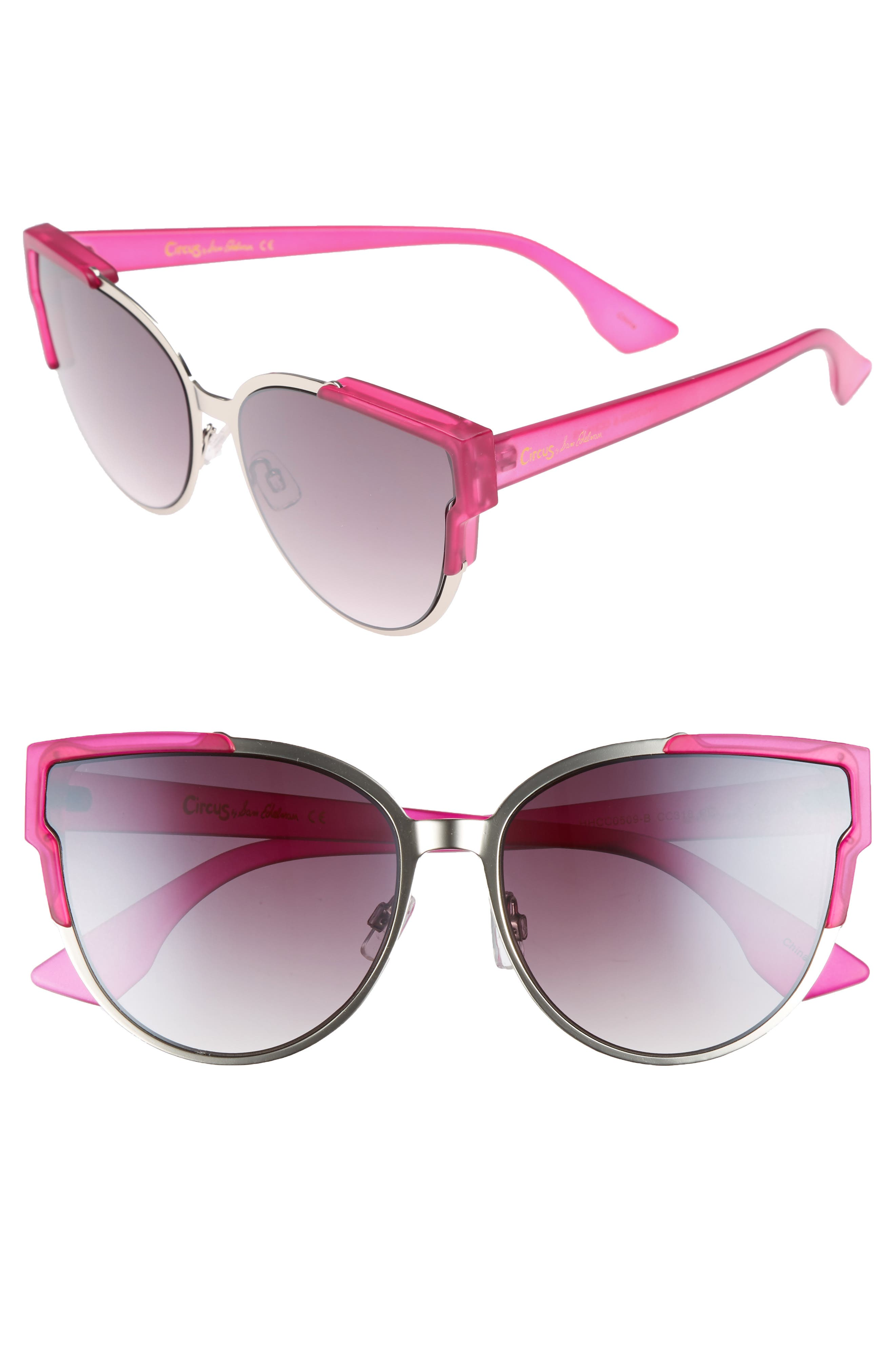 56mm Combo Cat Eye Sunglasses,                             Main thumbnail 4, color,