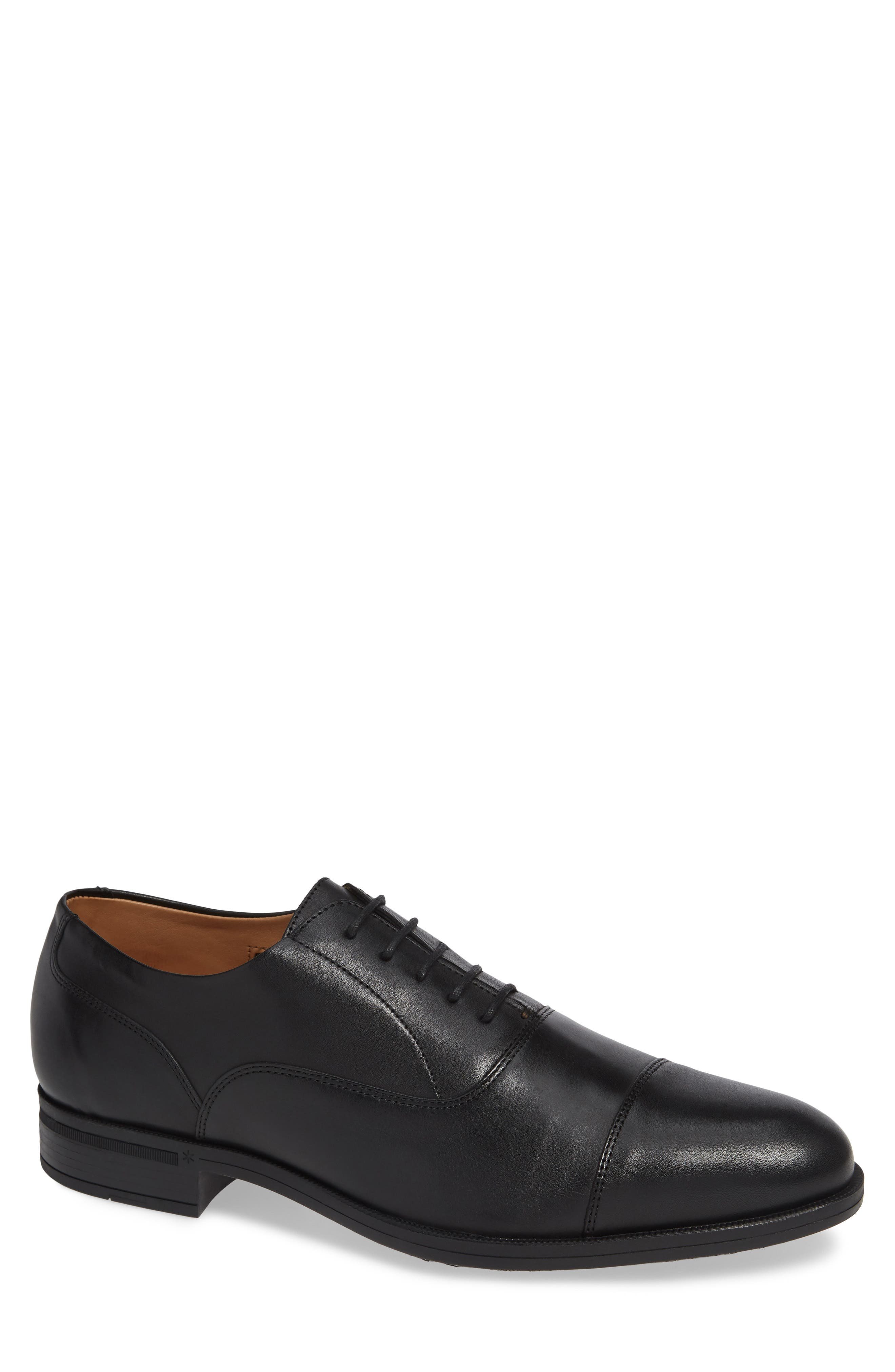 Iven Cap Toe Oxford,                         Main,                         color, BLACK/BLACK LEATHER