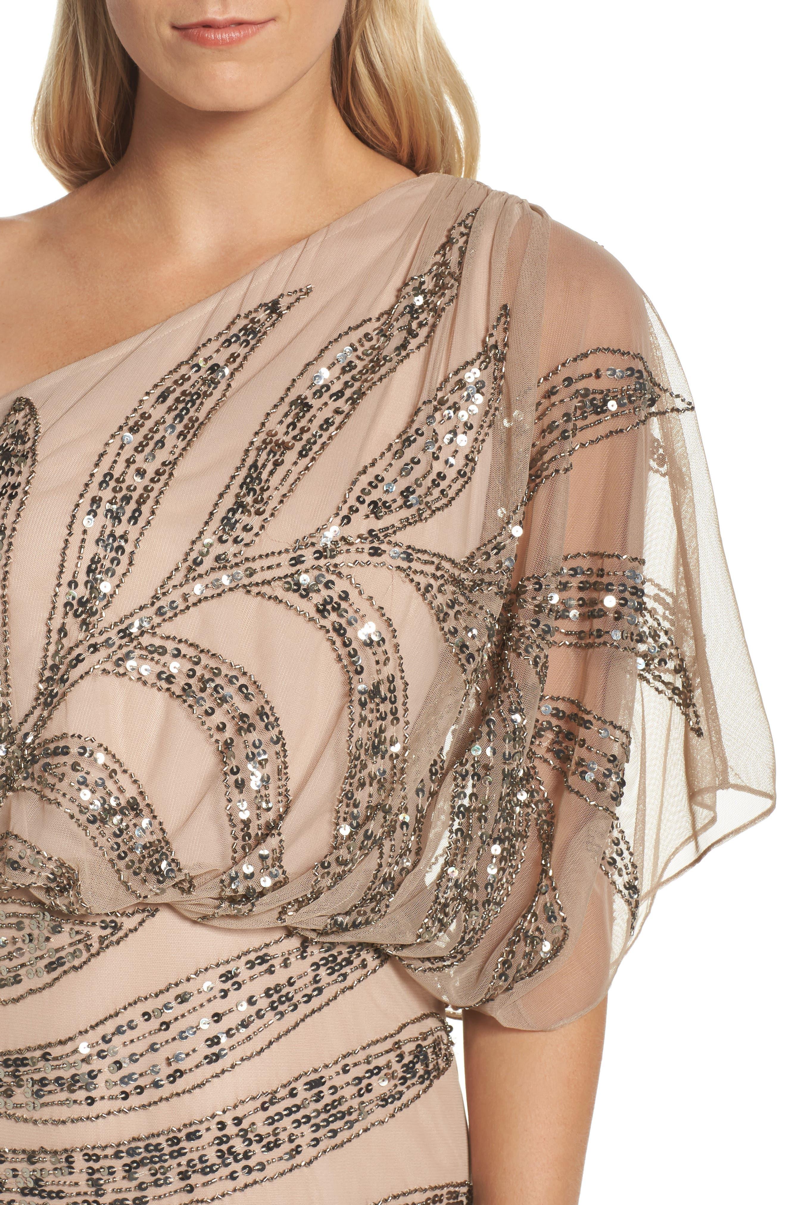 Beaded One-Shoulder Blouson Mesh Gown,                             Alternate thumbnail 4, color,                             673