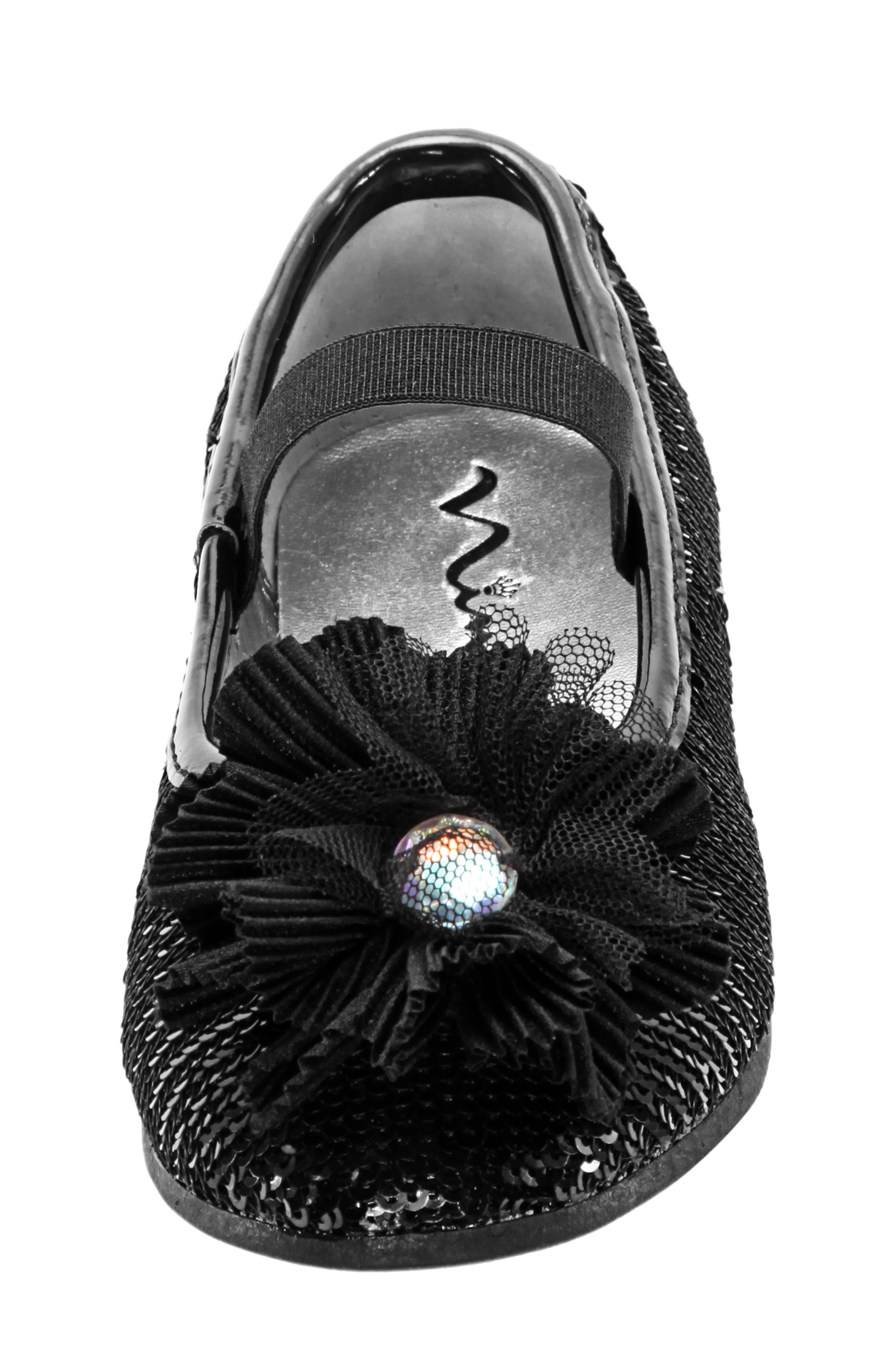 Sequin Ballet Flat,                             Alternate thumbnail 4, color,                             BLACK SEQUINS