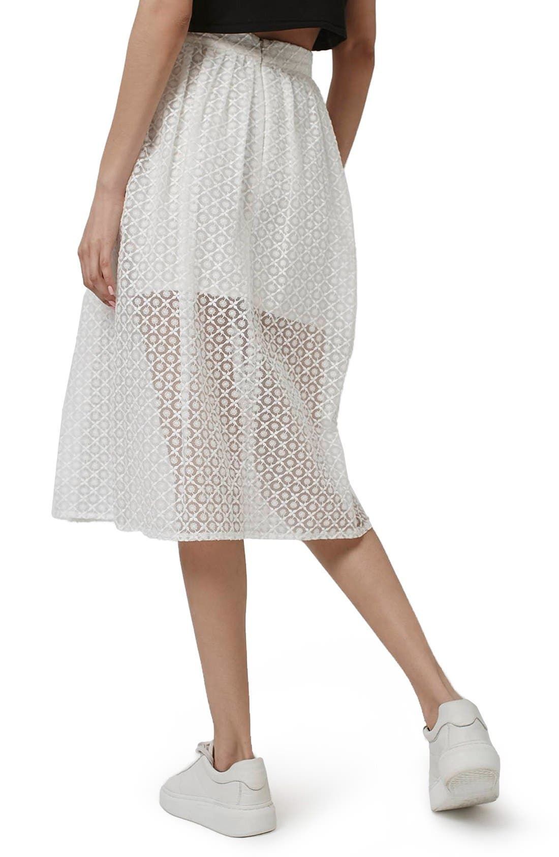 Floral Embroidered Organza Midi Skirt,                             Alternate thumbnail 2, color,                             100